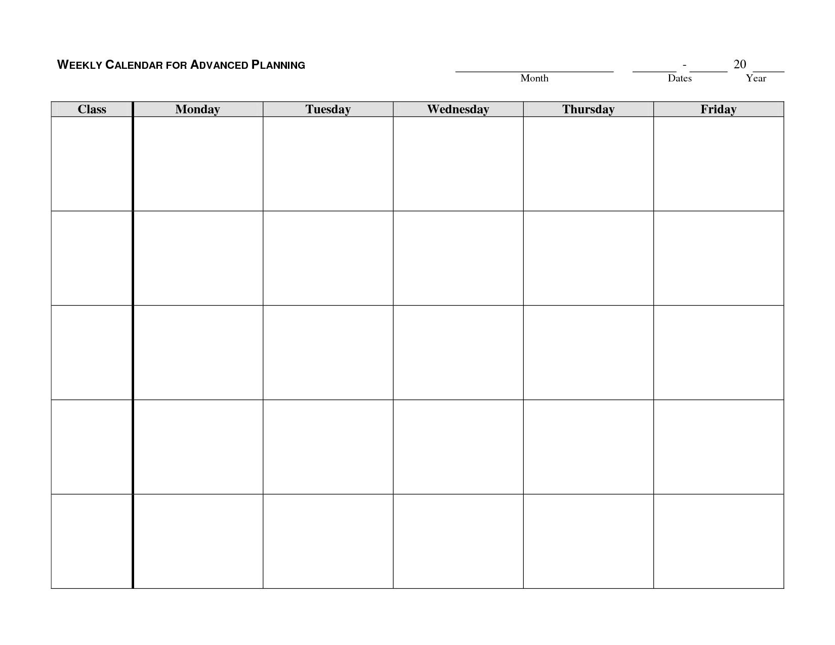 Printable Monday Through Friday Calendar | Hauck Mansion-Monday Through Friday Template