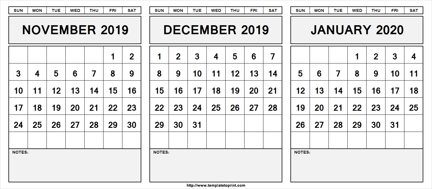 Printable-November-December-January-2019-Calendar-With-Notes-November December January 2020 Calendar
