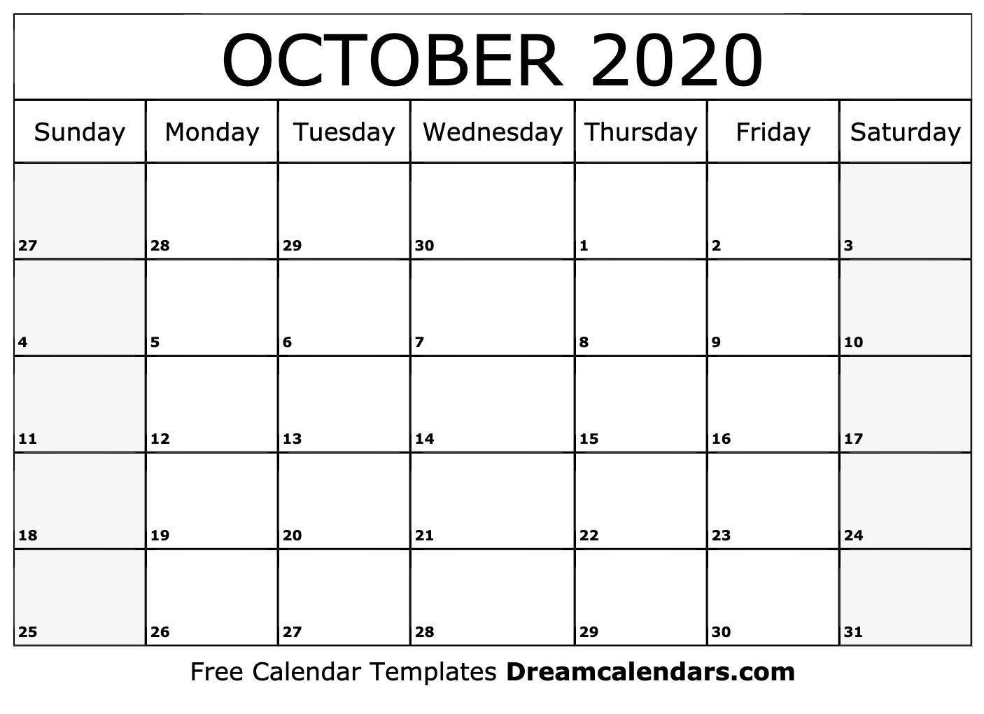 Printable October 2020 Calendar-October 2020 Monthly Calendar Blank Printable