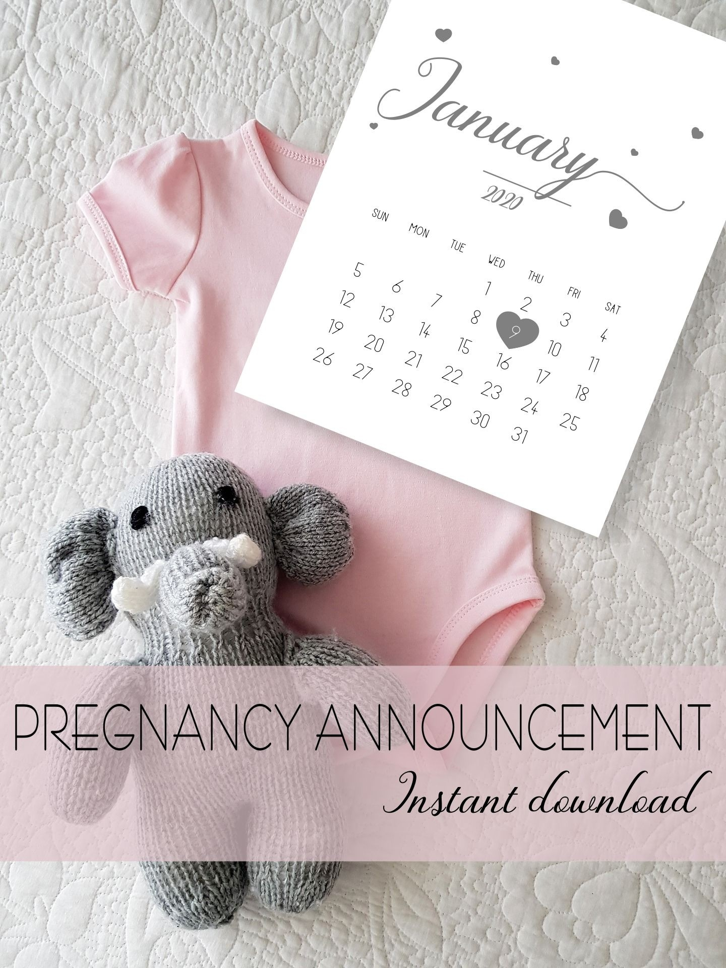 Printable #pregnancy #announcement Calendar #january 2020-January 2020 Calendar Baby Announcement