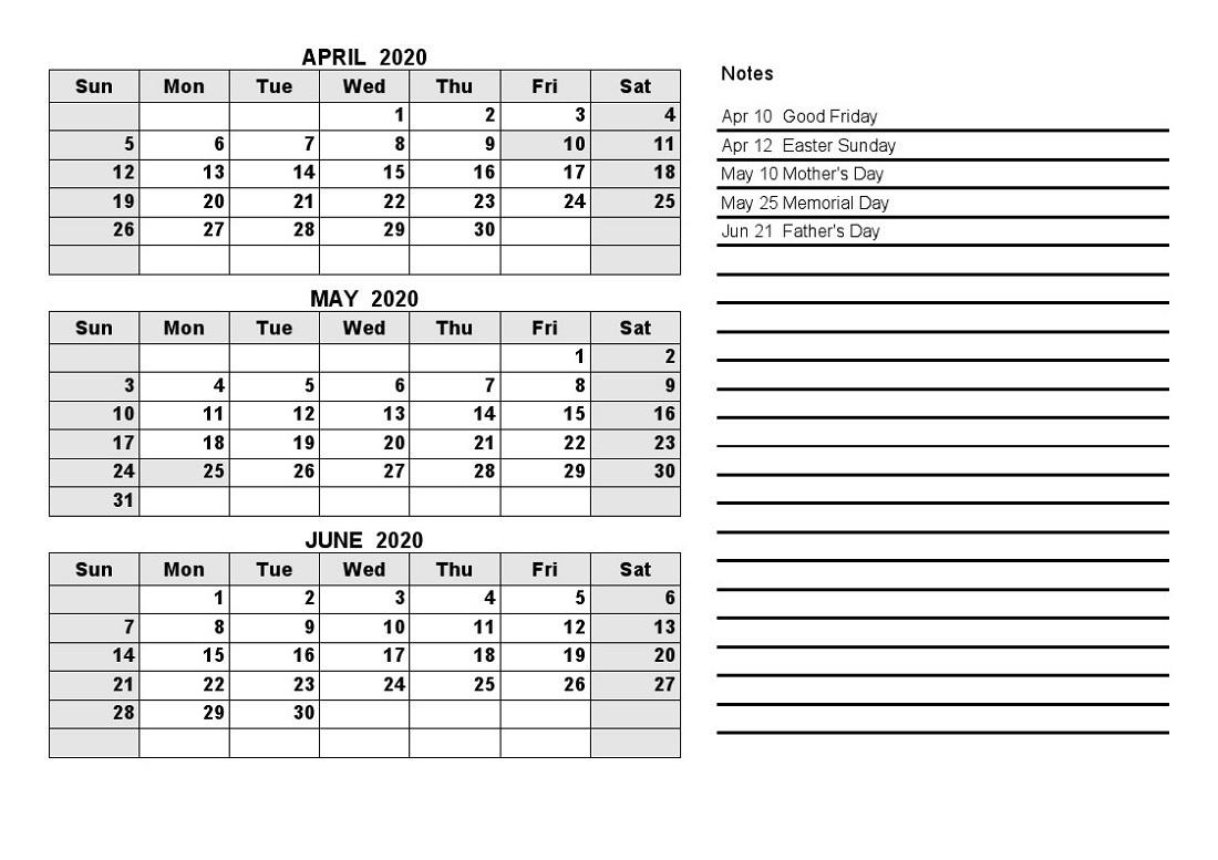 Printable Quarterly Calendar 2020 1St Quarter With Notes-Blank Quarterly Calendar Printable 2020