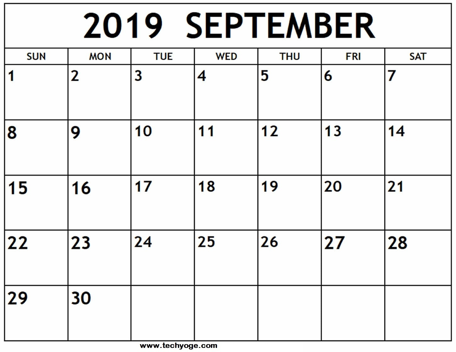 Printable September 2019 Calendar With Holidays Template-Fill In The Blank July 2919 Calendar