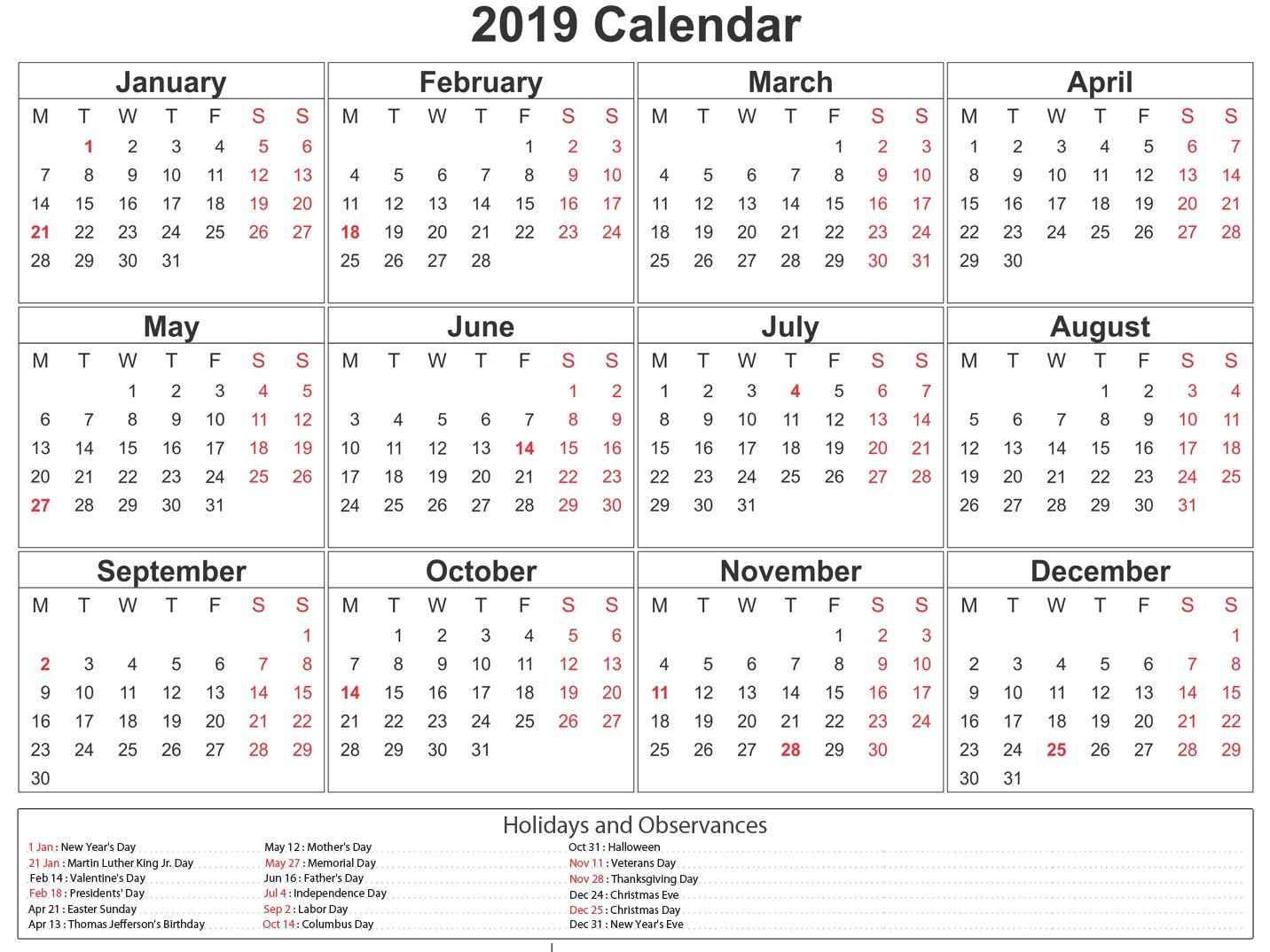 Printable South Africa 2019 Calendar #southafrica #calendar-January 2020 Calendar With Holidays South Africa