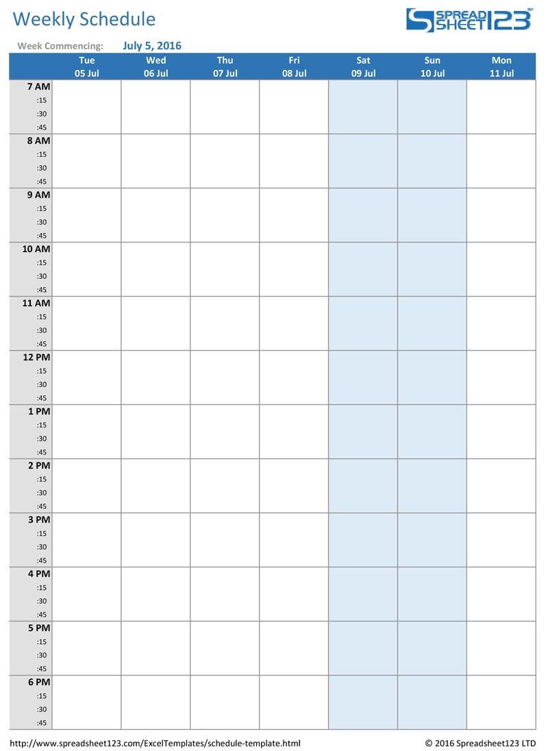 Printable Weekly And Biweekly Schedule Templates For Excel-Monthly Homework Calendar Printable