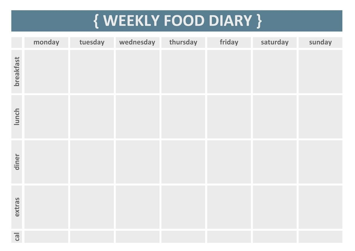 Printable Weekly Food Journal Template | Health | Food-Monday - Friday Diary Template
