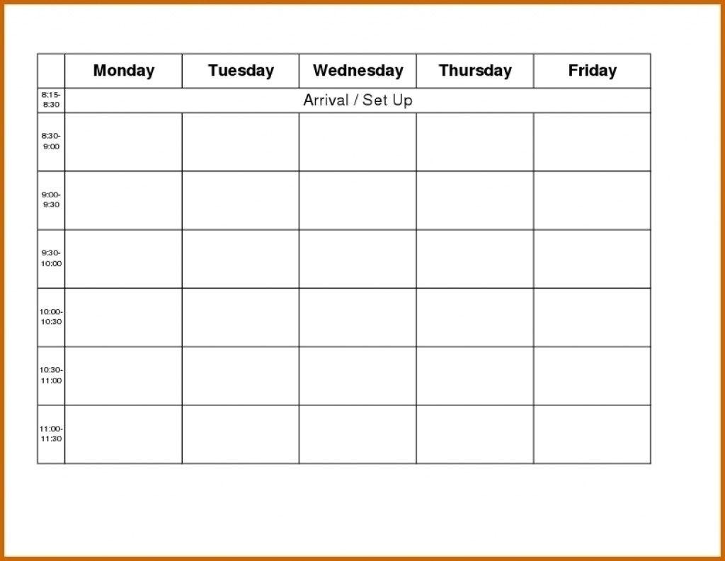 Printable Weekly R Monday Through Friday Template Blank Free-Monday To Friday Blank Calendar Printable
