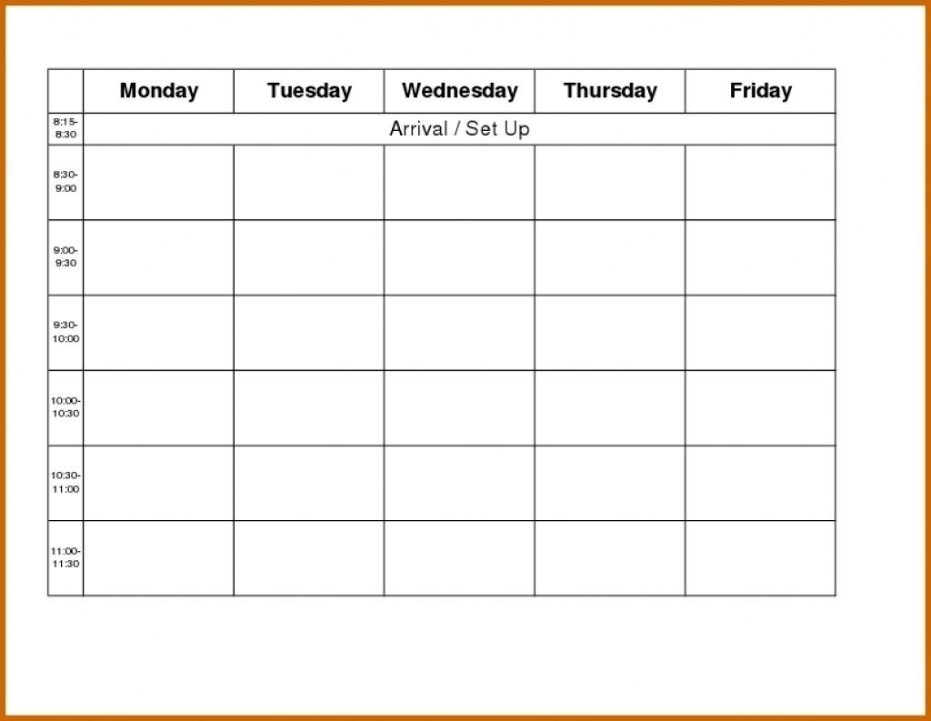 Printable Weekly R Monday Through Friday Template Blank Free-Template Monday To Friday