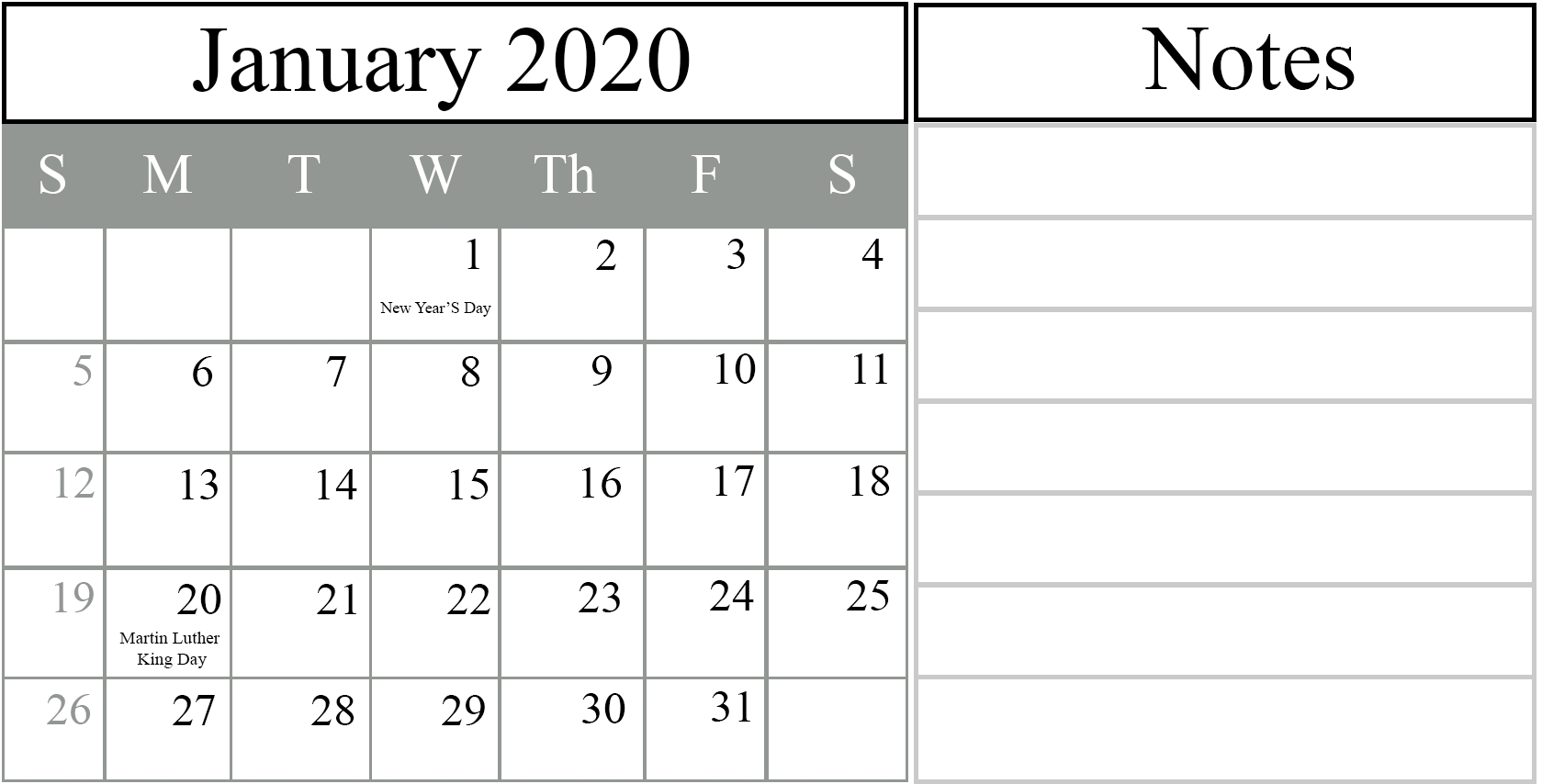 Printable Yearly Calendar 2020 Template With Holidays [Pdf-January 2020 Calendar Hindu