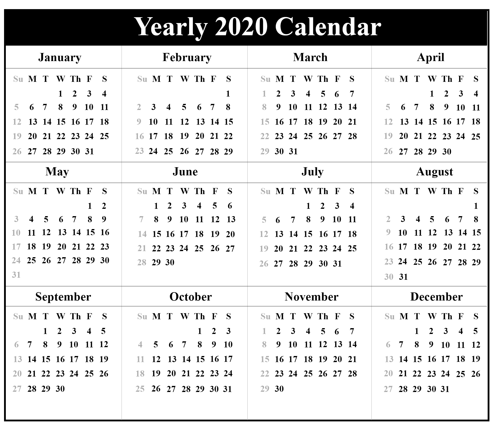 Printable Yearly Calendar 2020 Template With Holidays [Pdf-January 2020 Islamic Calendar