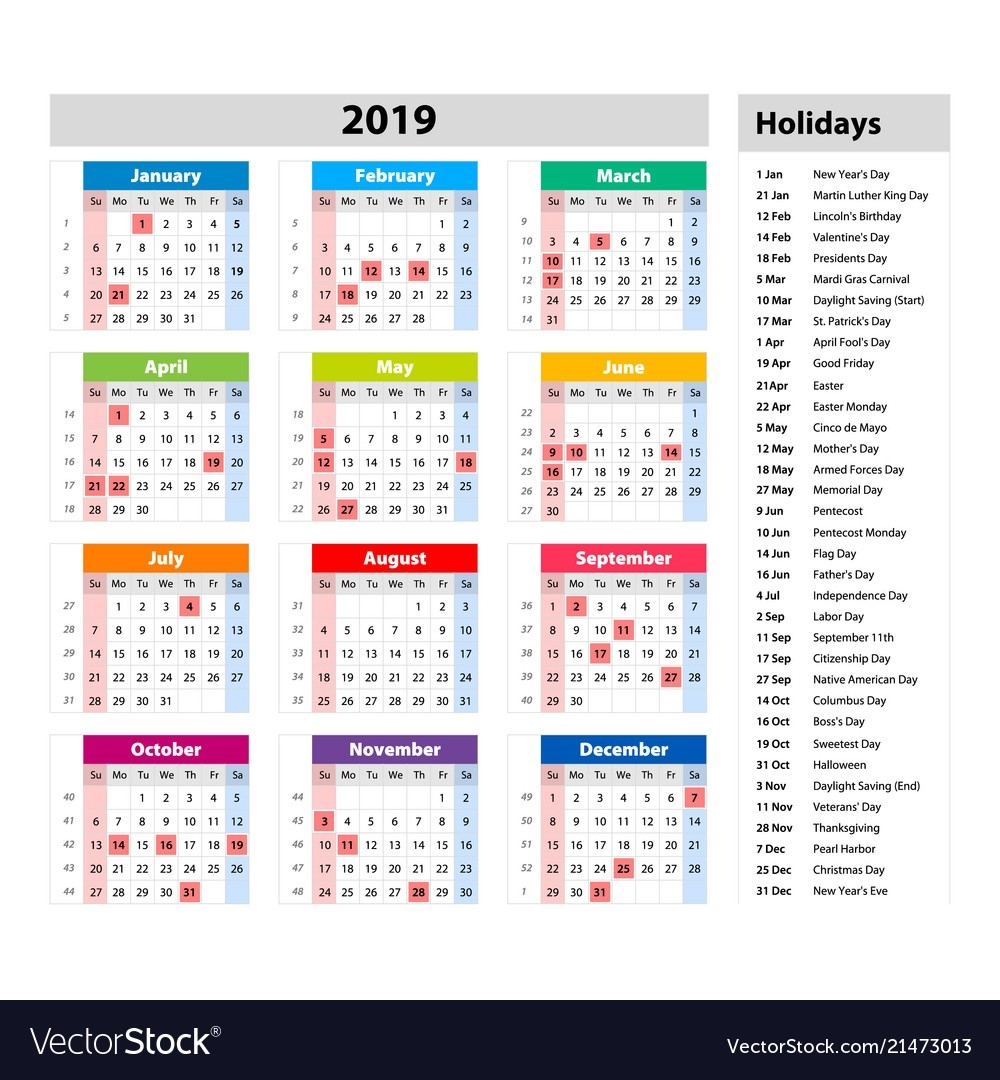 Public Holidays For The Usa Calendar 2019-Calendar With Public Holidays