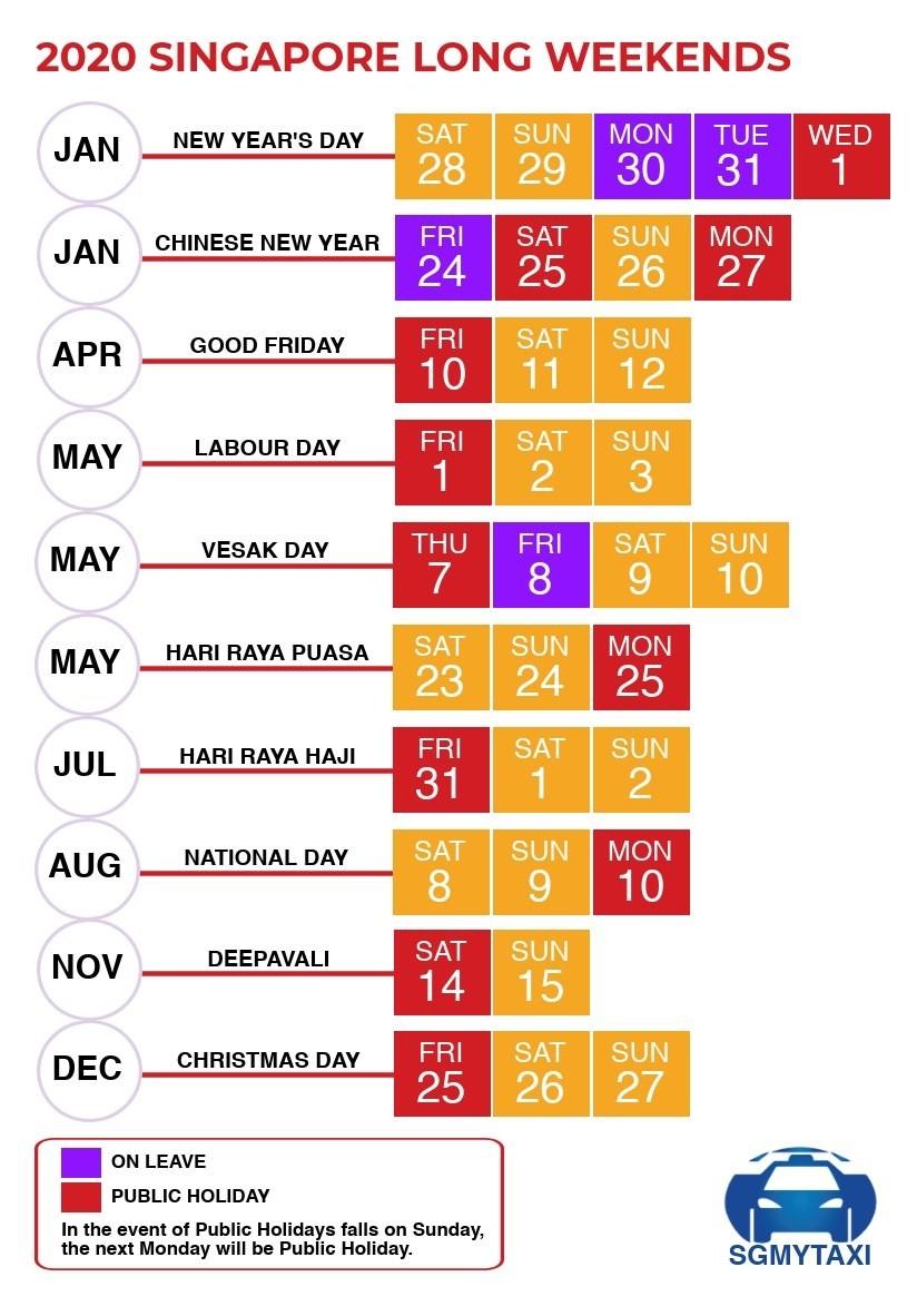 Public & School Holidays Singapore 2019 & 2020 (19 Long-January 2020 Calendar Singapore