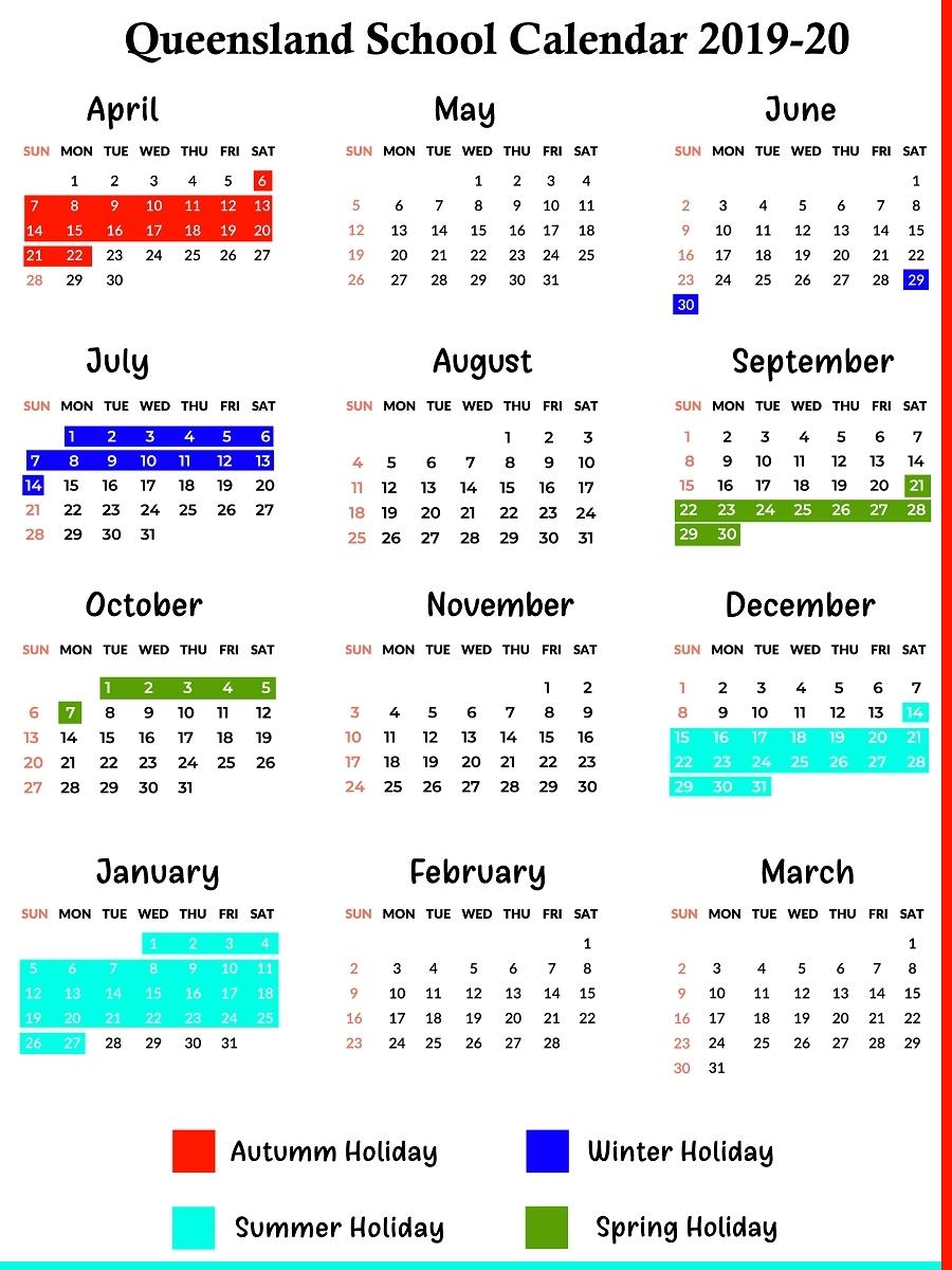 Qld School Holidays Calendar 2019 – 2020   Qld School-Printable Calendar 2020 School Holidays Qld