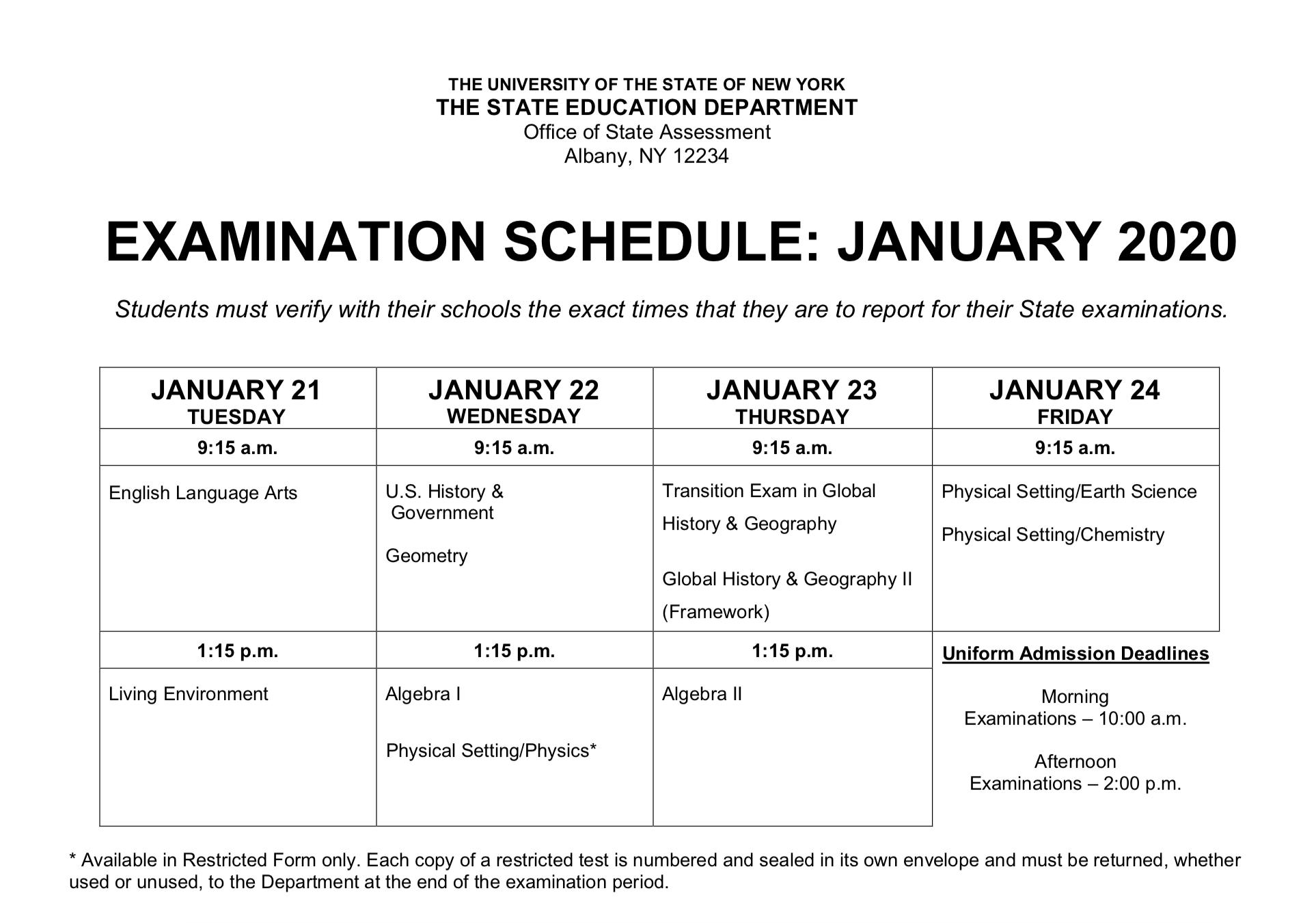 Regents Examination Week-January 2020 Regents Calendar