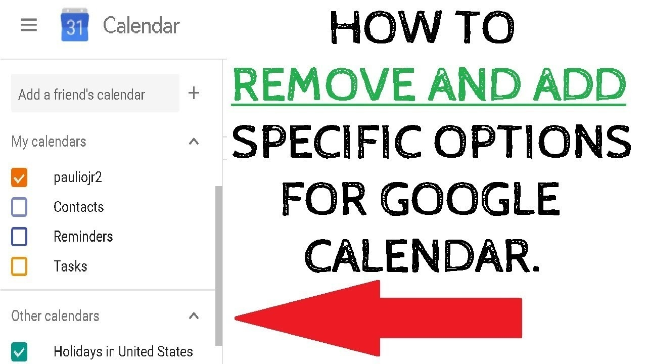 Remove Birthdays, Holidays, Events From Google Calendar - How To-Remove Holidays From Google Calendar