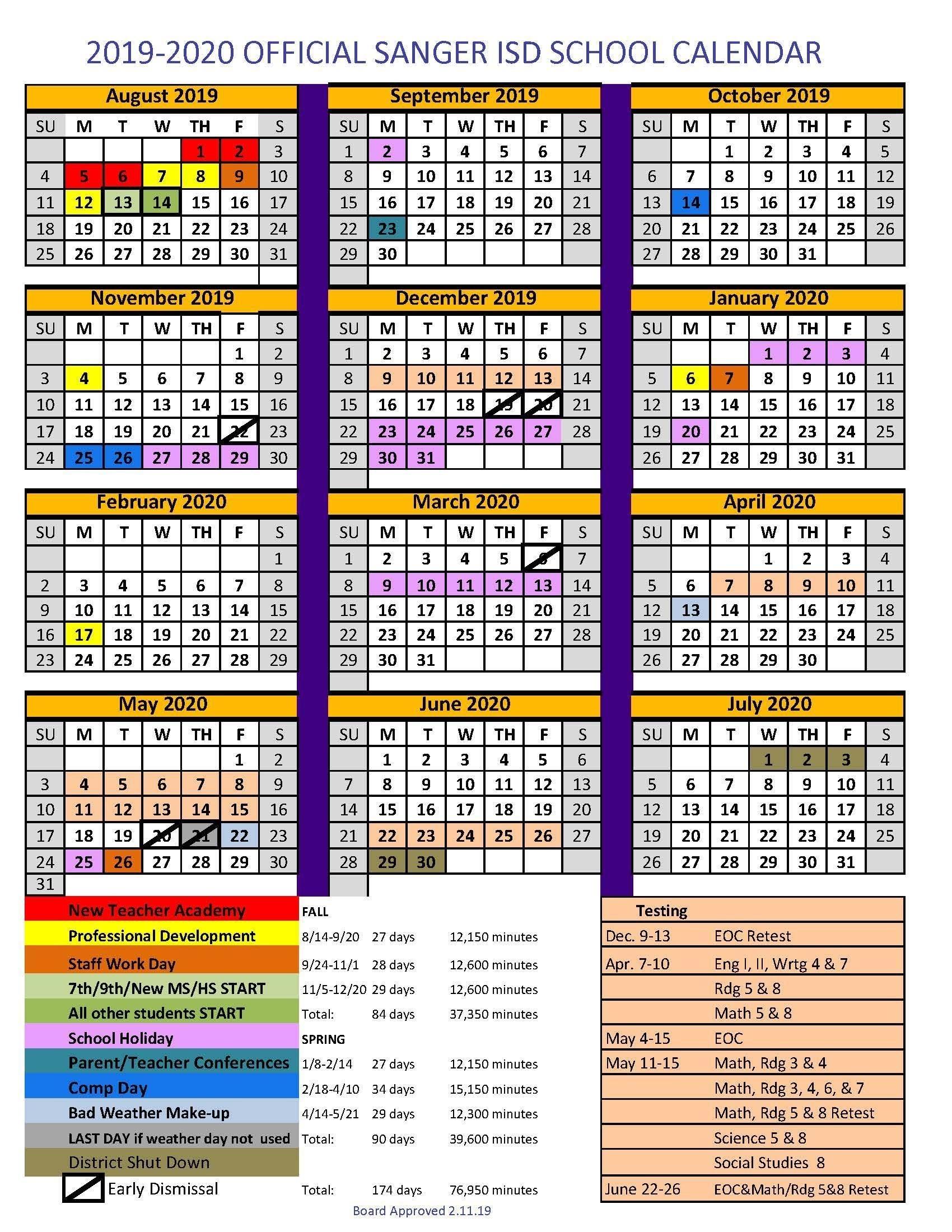 Sanger Independent School District-January 2020 School Calendar