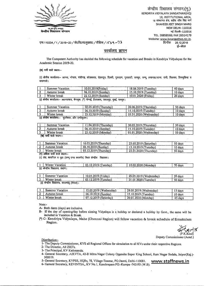 Schedule For Vacation & Breaks In Kvs For The Academic-List Of Holidays2020In Kendrya Vidyalaua