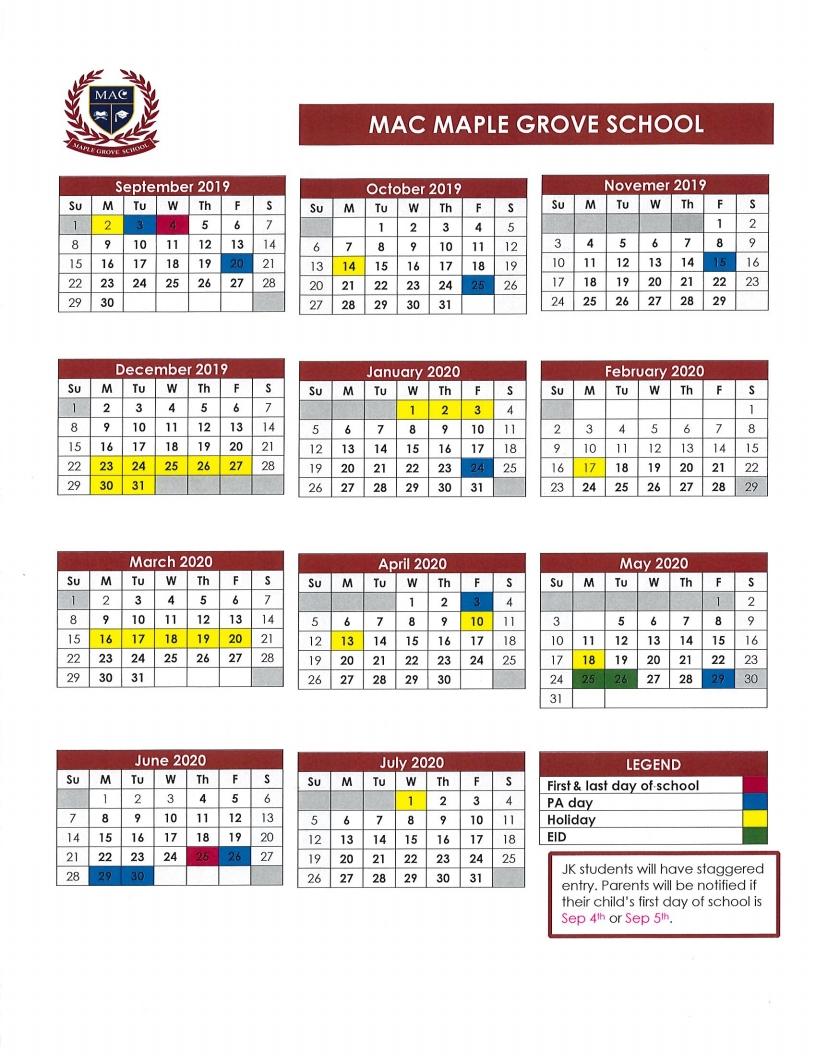 School Calendar 2019-2020 | Mac Mgs-Monthly Calendar 2020 Quran