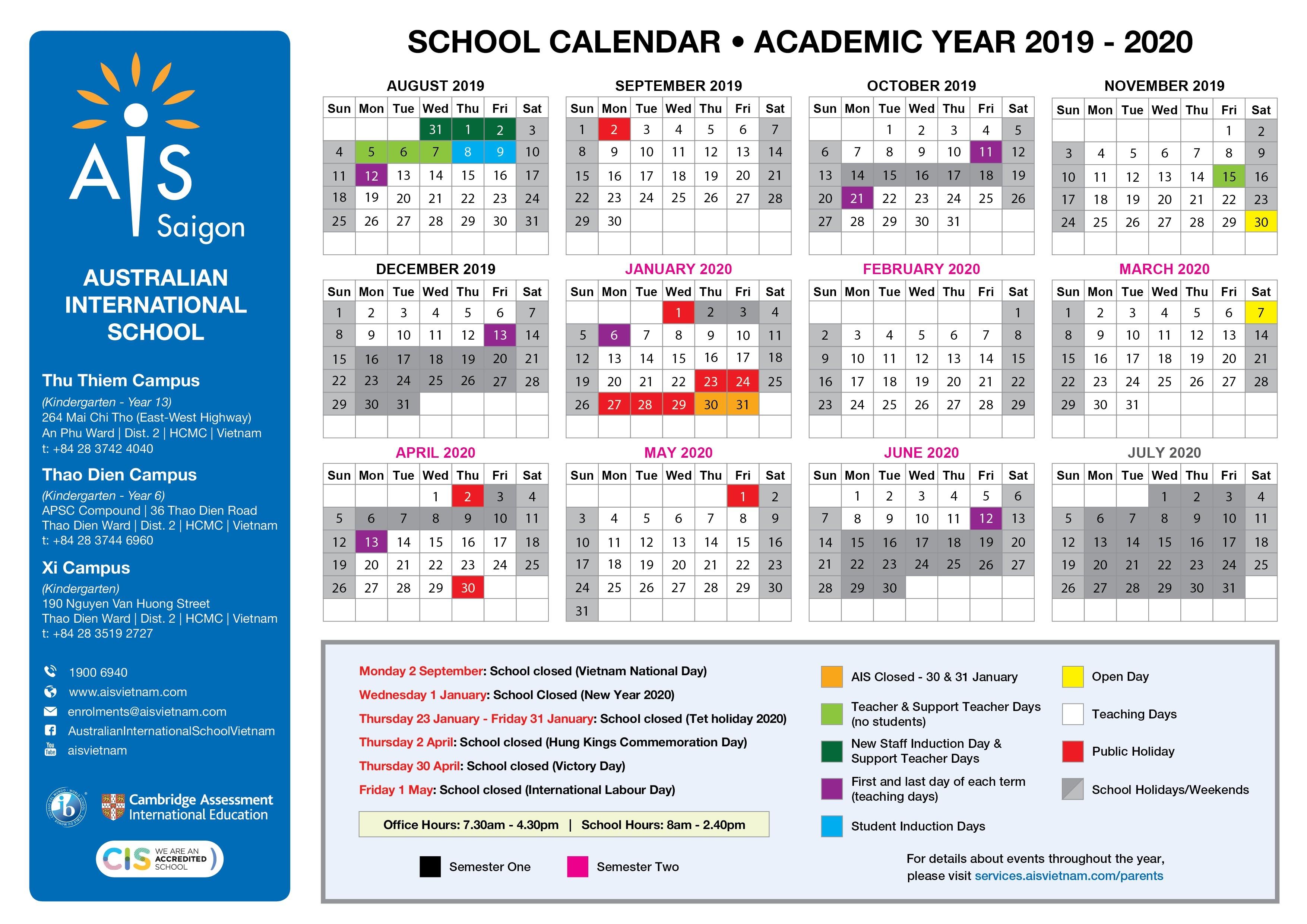 School Calendar - Australian International School-Europe Holidays 2020 Calendar