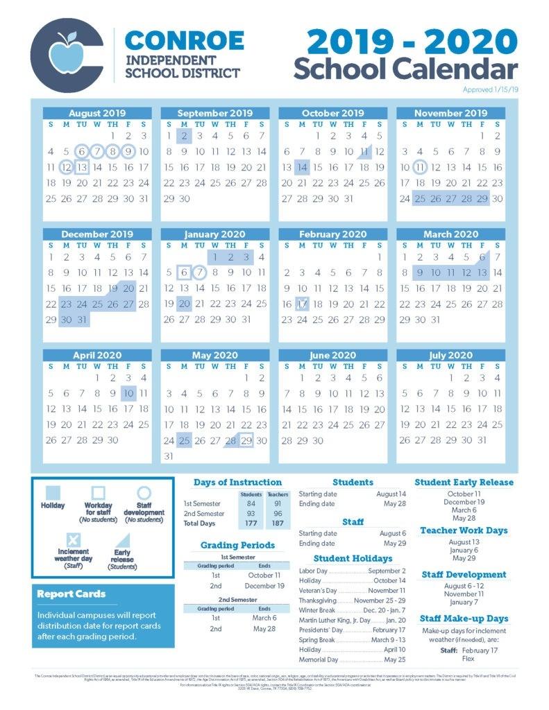 School Calendar Process - Conroe Isd-January 2020 School Calendar