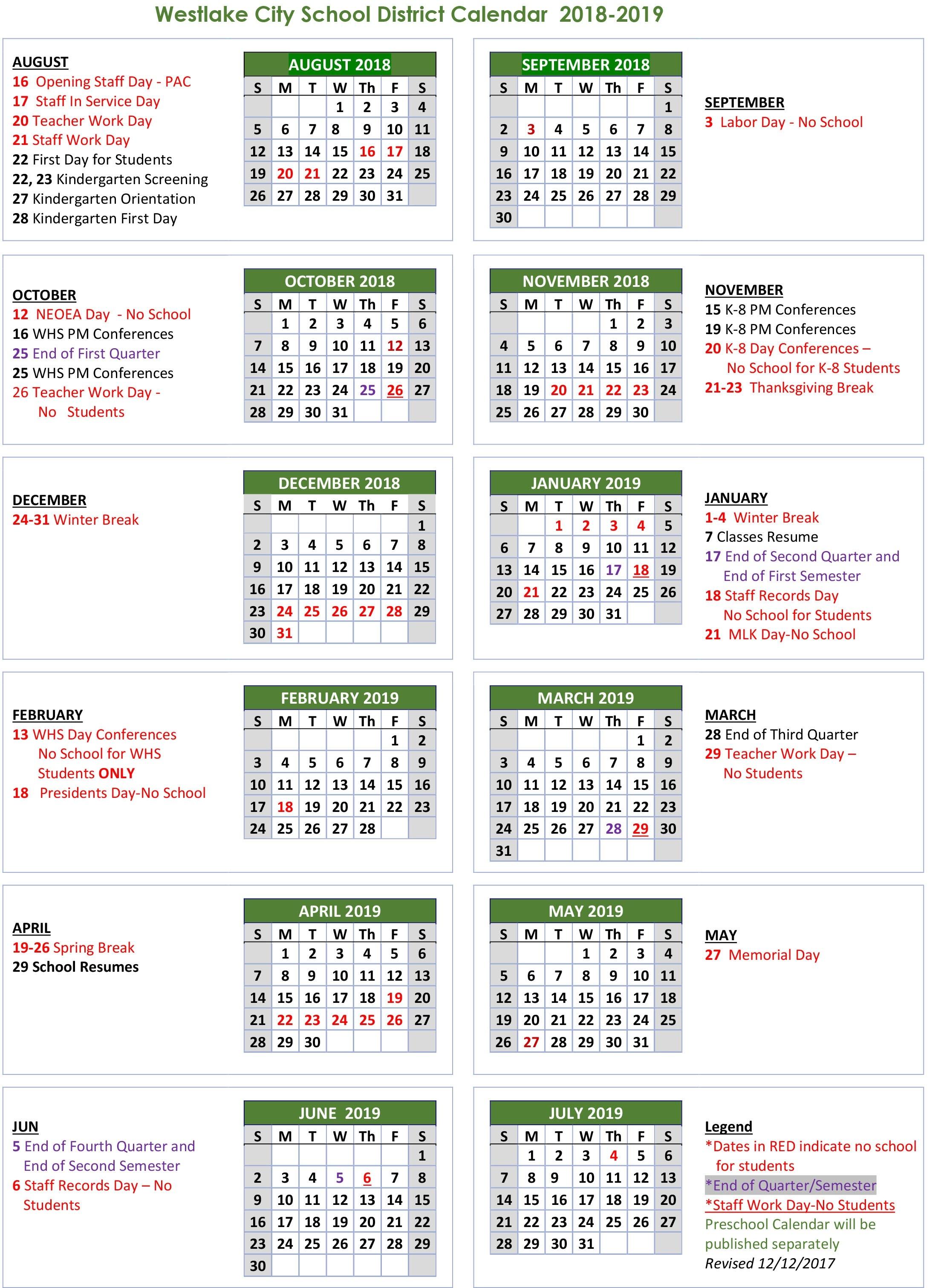 School Calendar - Westlake City School District-Monthly Wellness Calendar 2020 Pdf