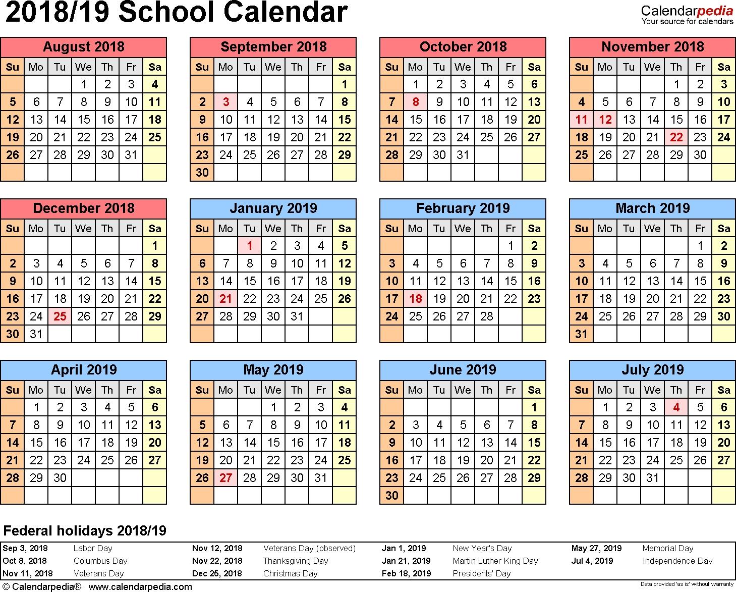 School Calendars 2018/2019 As Free Printable Word Templates-School Calendar Blank At A Glance