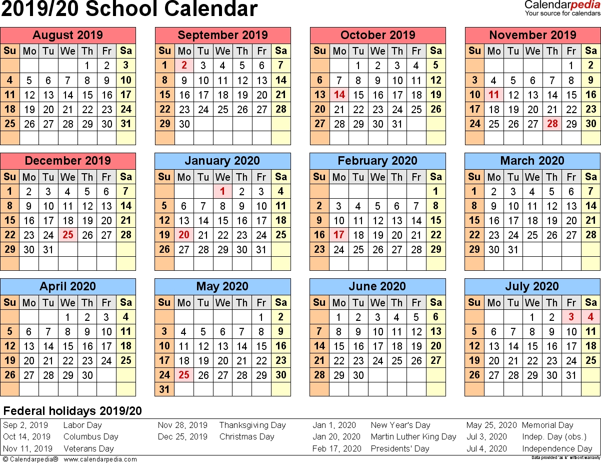 School Calendars 2019/2020 As Free Printable Pdf Templates-January 2020 School Calendar