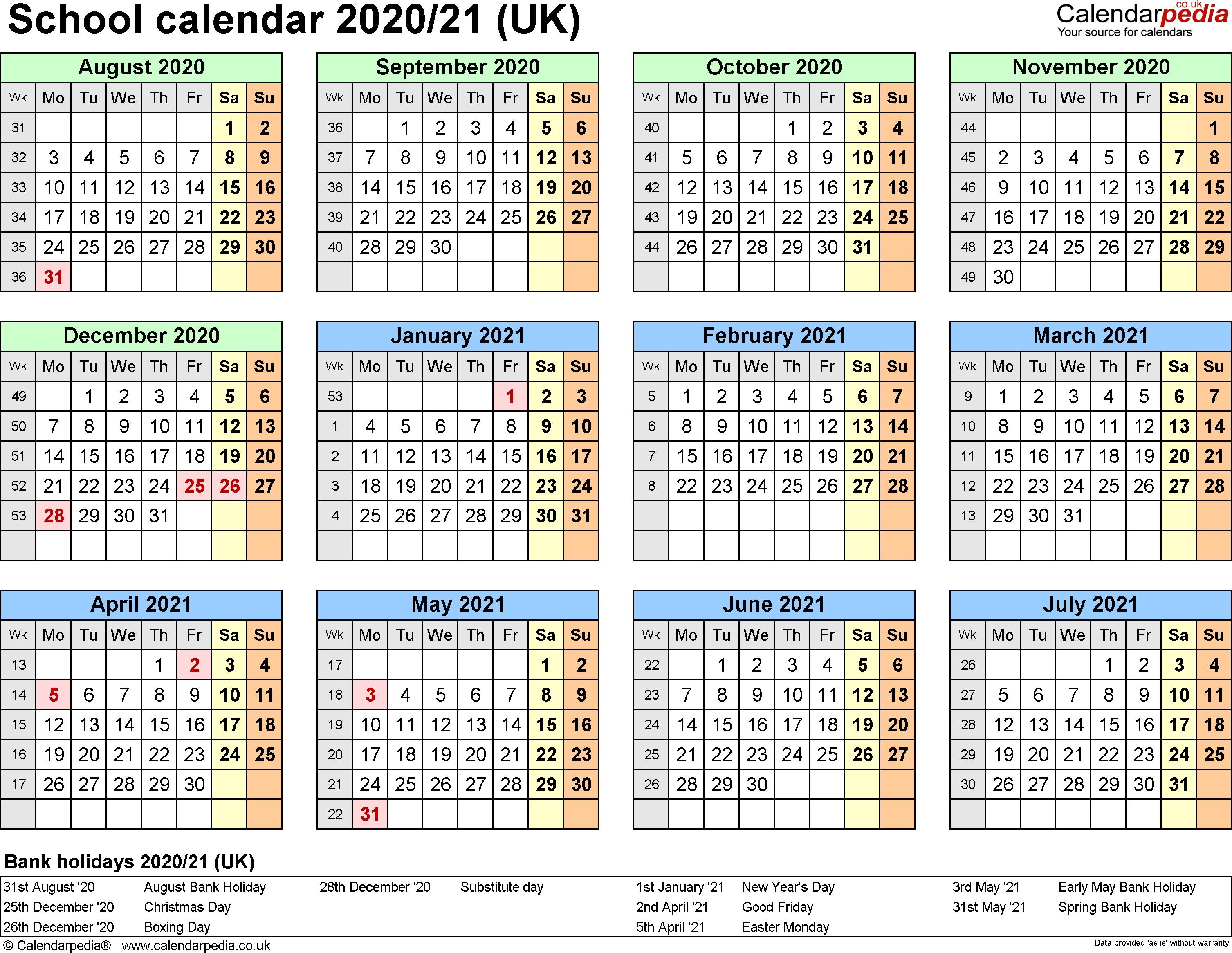 School Calendars 2020/2021 As Free Printable Excel Templates-Calendar 2020 Printable With Bank Holidays