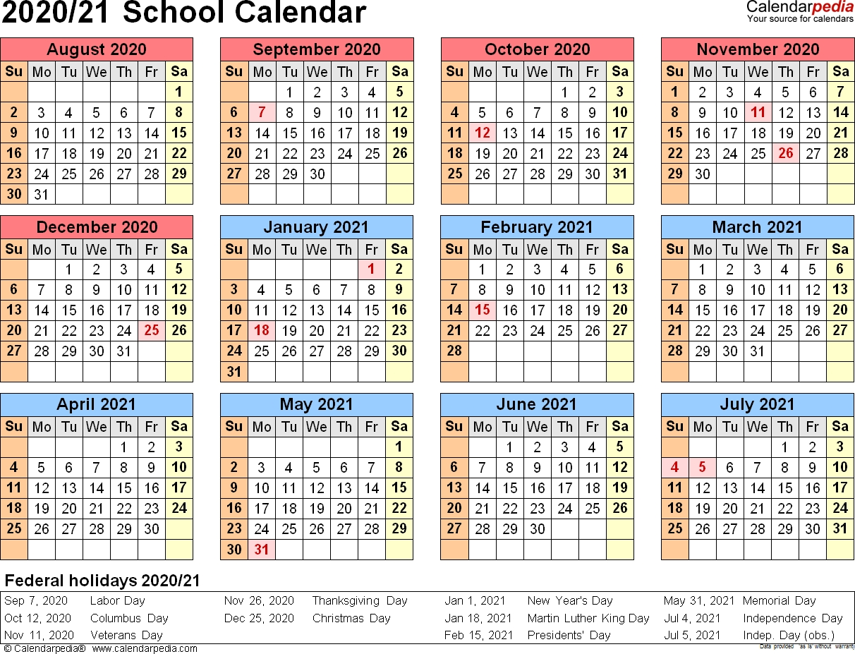 School Calendars 2020/2021 As Free Printable Word Templates-Blank 2020-20 Calendar Printable