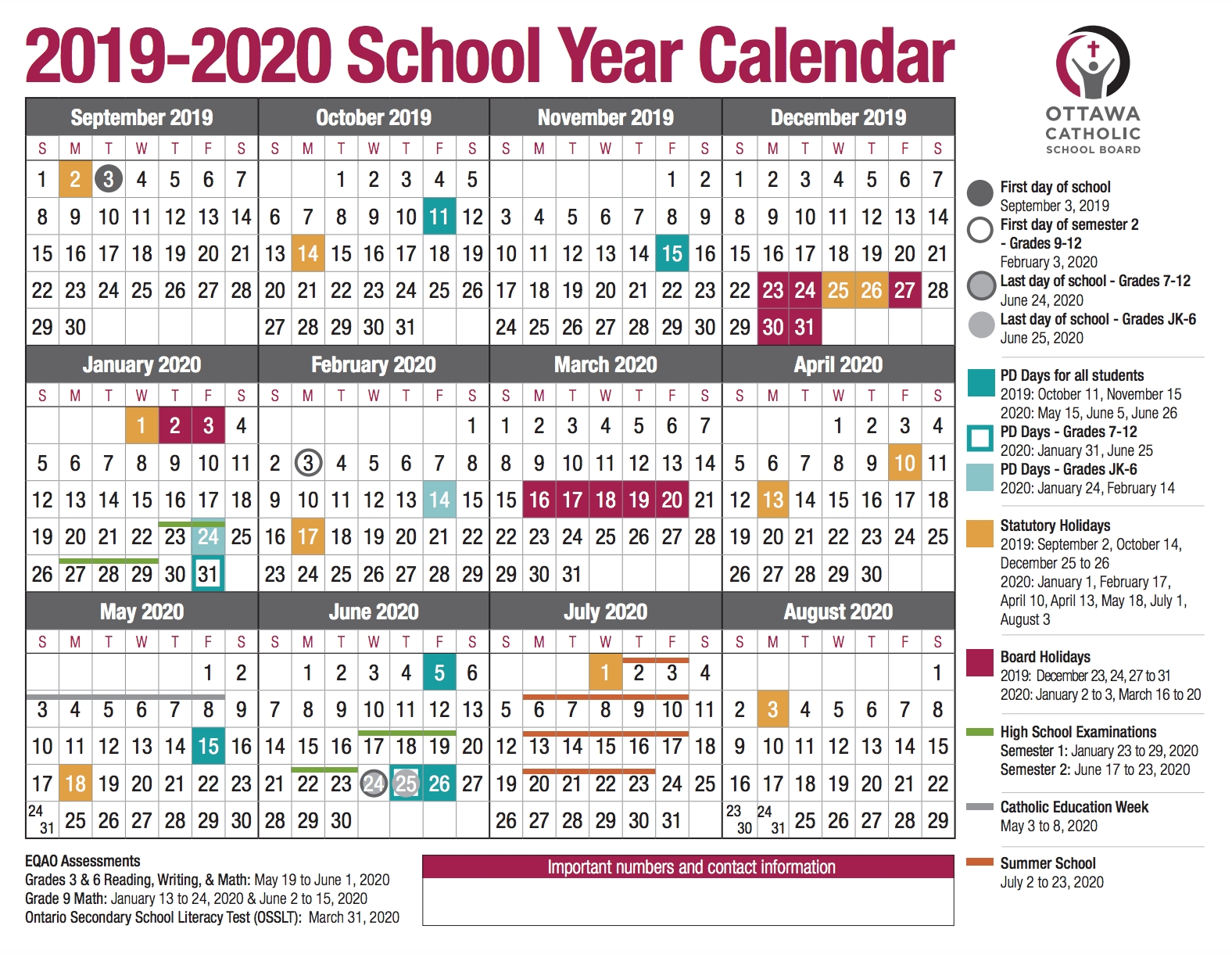 School Year Calendar From The Ocsb-Key West Calendar January 2020