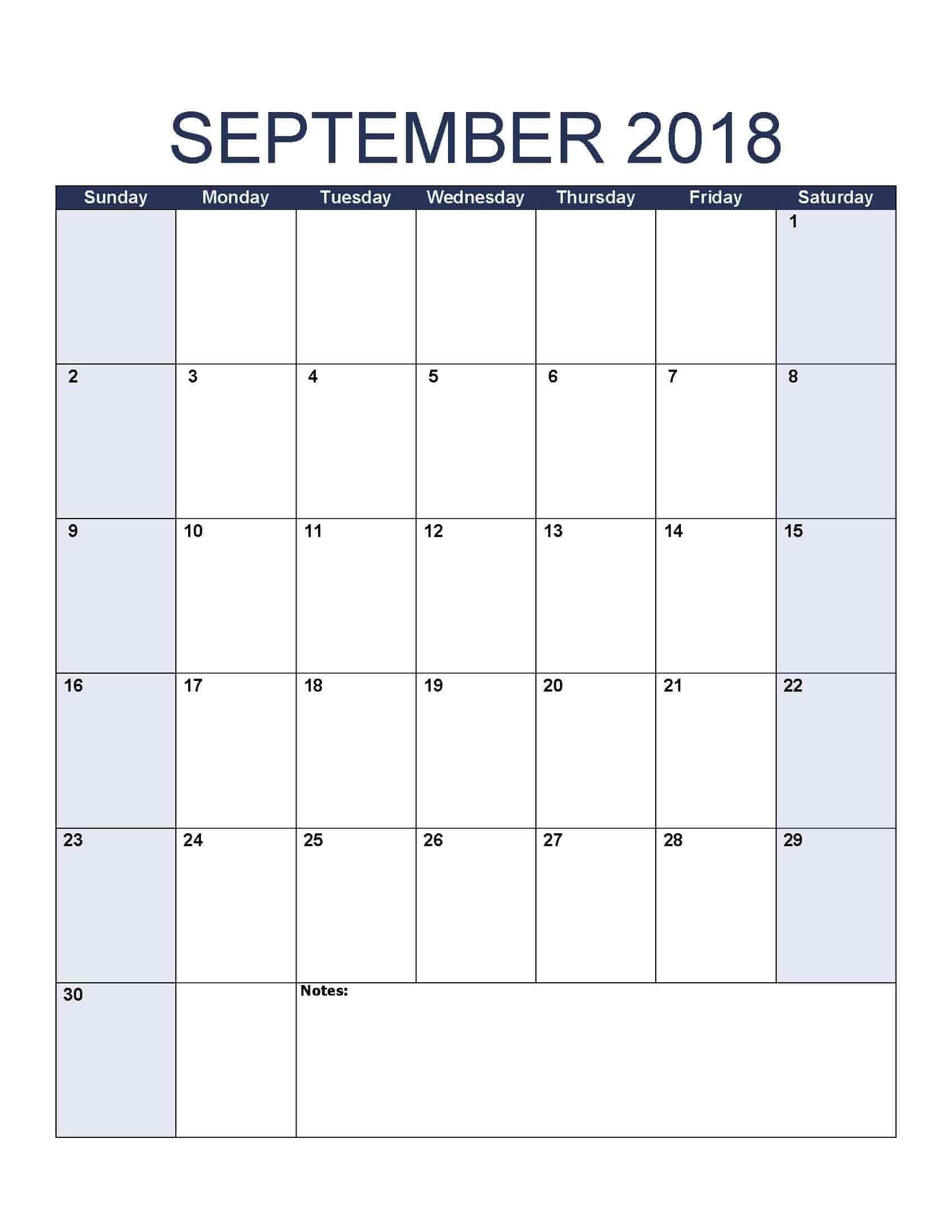 September 2018 Calendar - Free, Printable Calendar Templates-Blank Printable Catholic Calender September