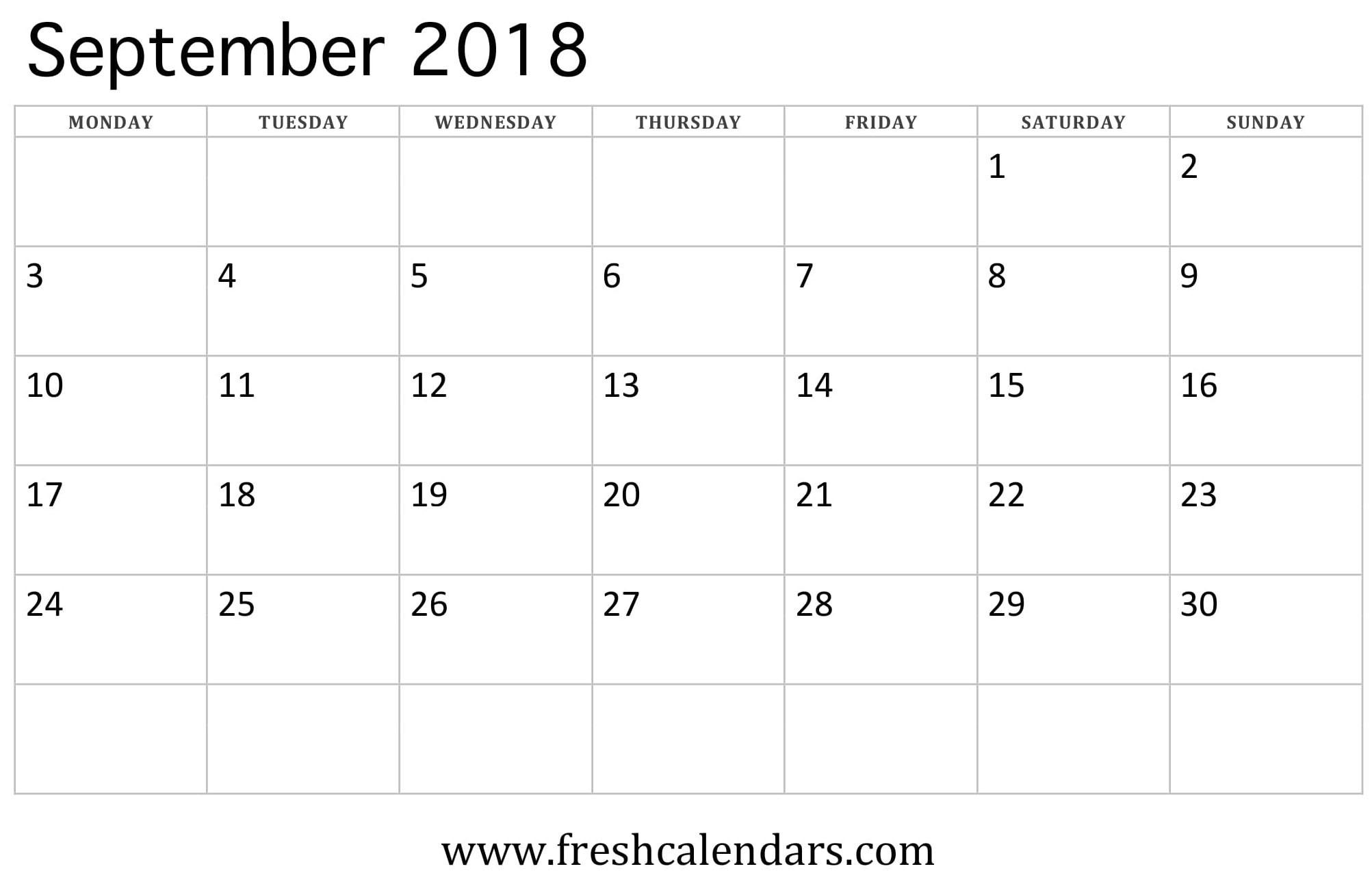 September 2018 Calendar Printable - Fresh Calendars-Blank September Calendar Monday Start