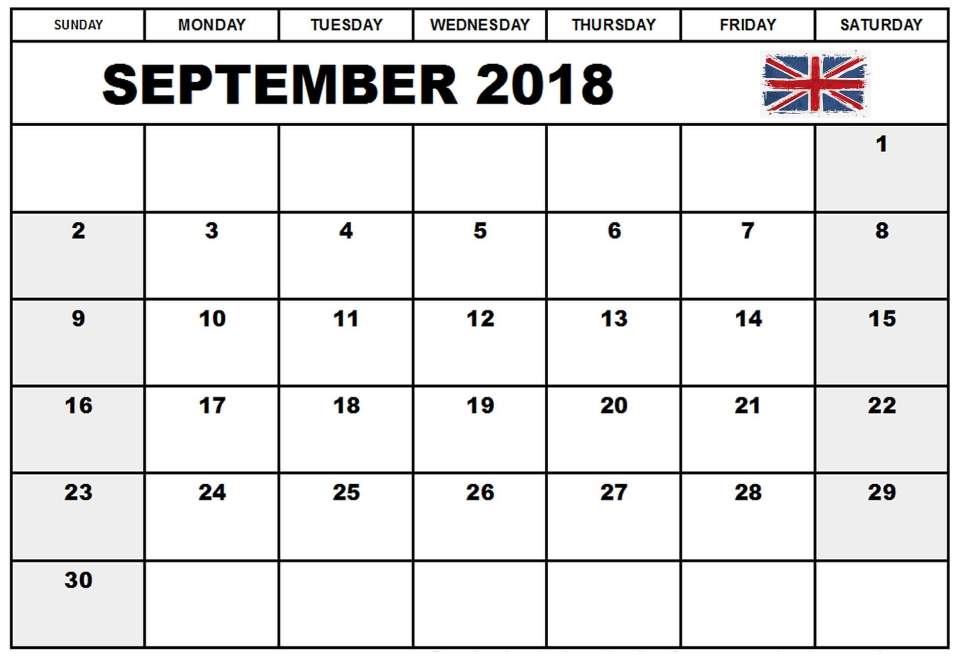 September 2018 Calendar Uk-Blank Printable Catholic Calender September