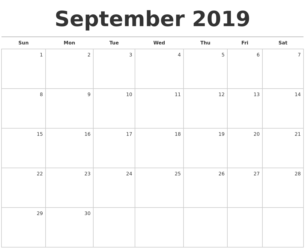 September 2019 Blank Monthly Calendar-Month To Month Blank Calendars