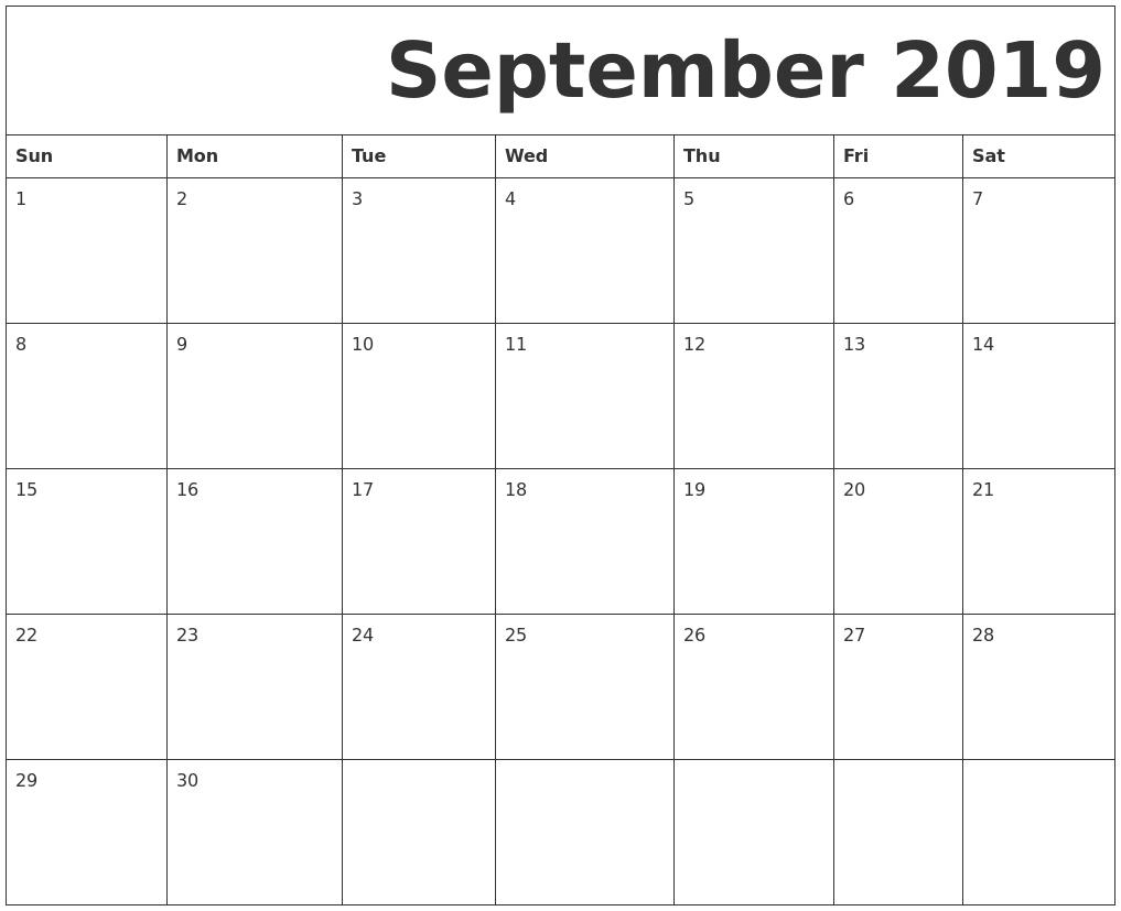 September 2019 Free Printable Calendar-Blank September Calendar Monday Start