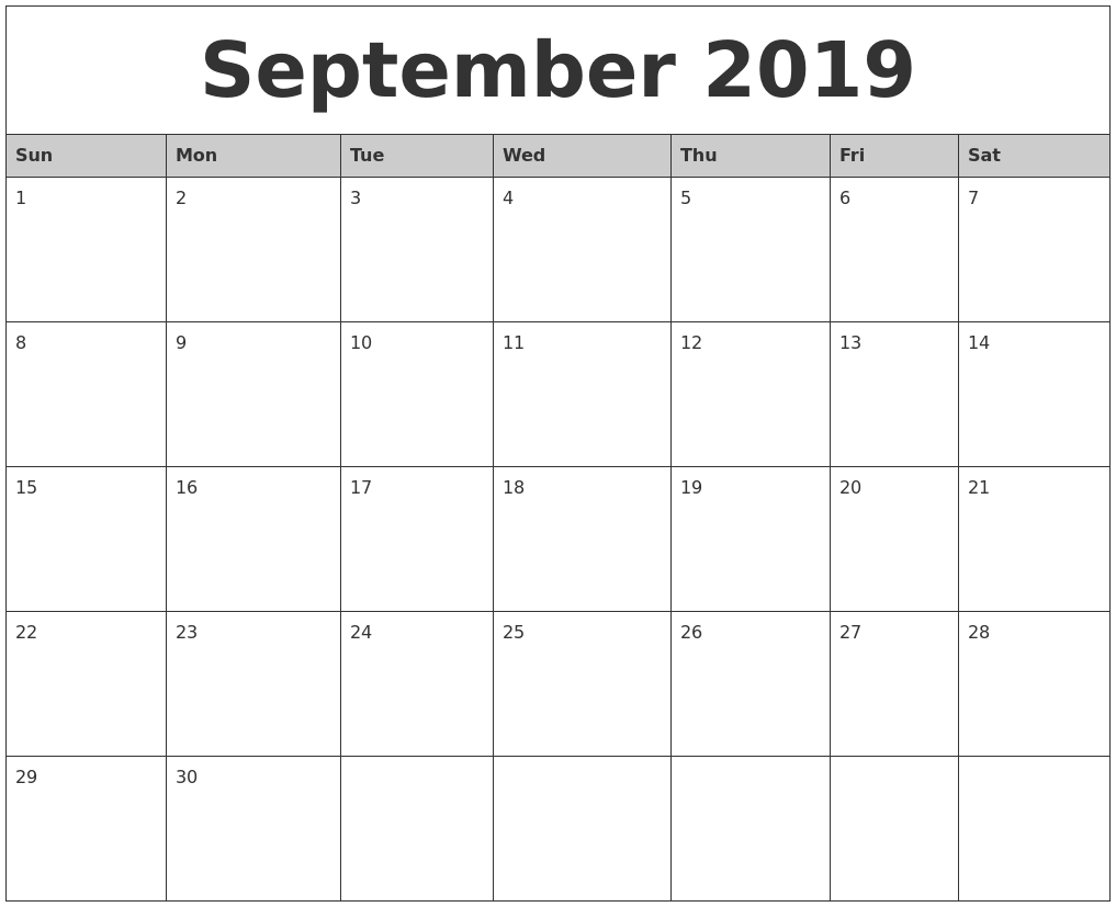 September 2019 Monthly Calendar Printable-Blank Month Caledar Uk
