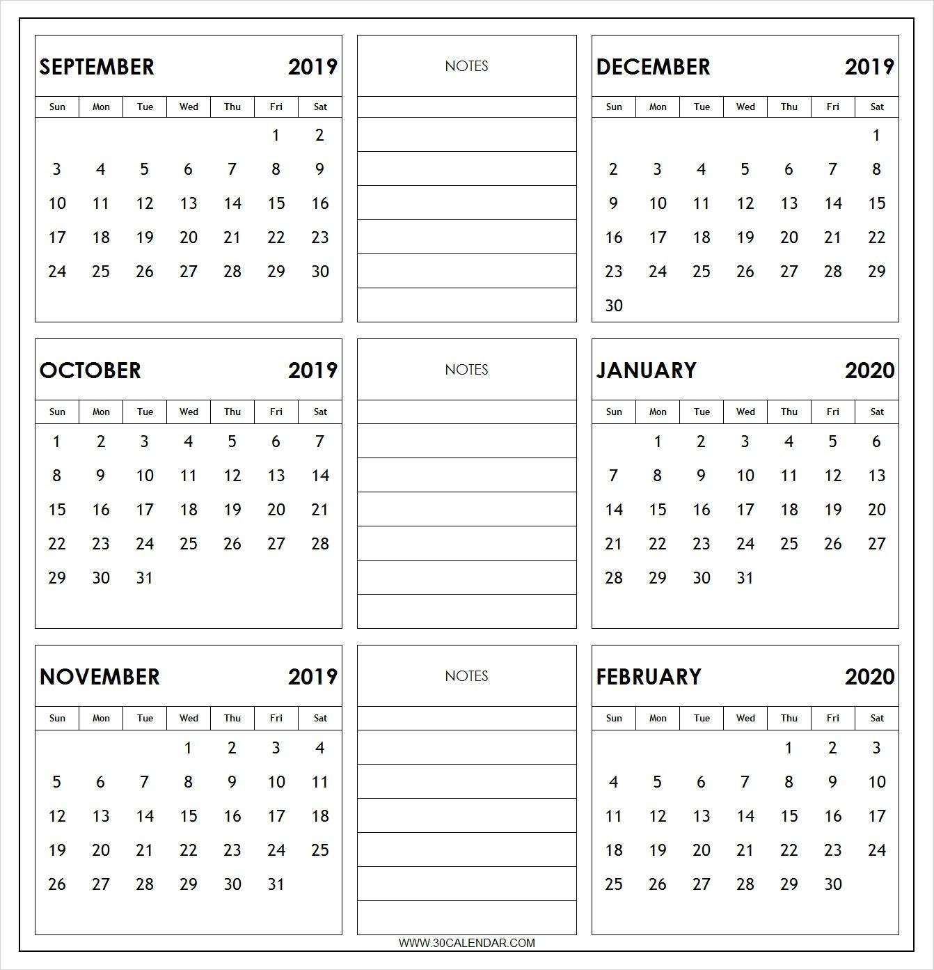 September 2019 To February 2020 Calendar Printable | 6 Month-2020 Six Month Calendar Template