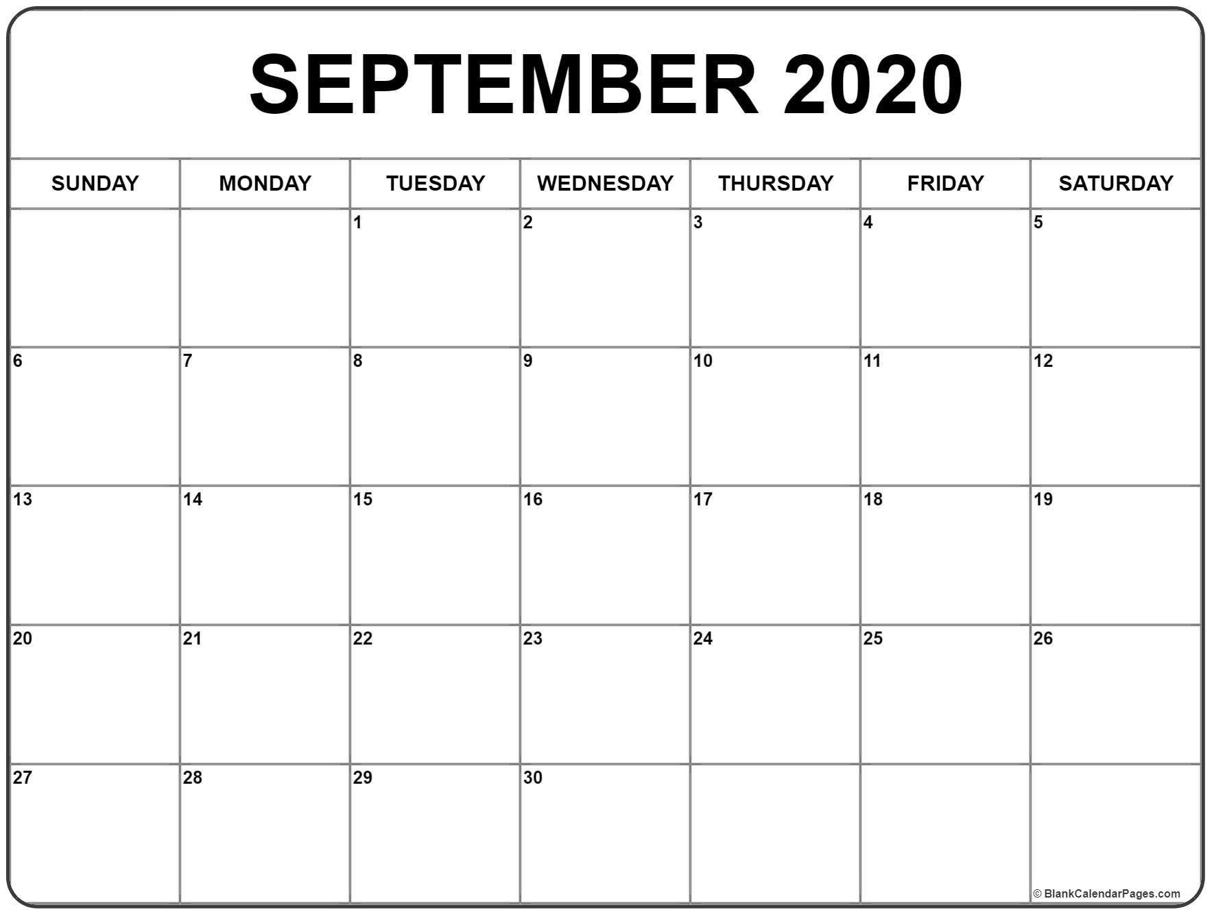 September 2020 Calendar 51 Calendar Templates Of 2020-Monday Through Friday September Calendar Template 2020