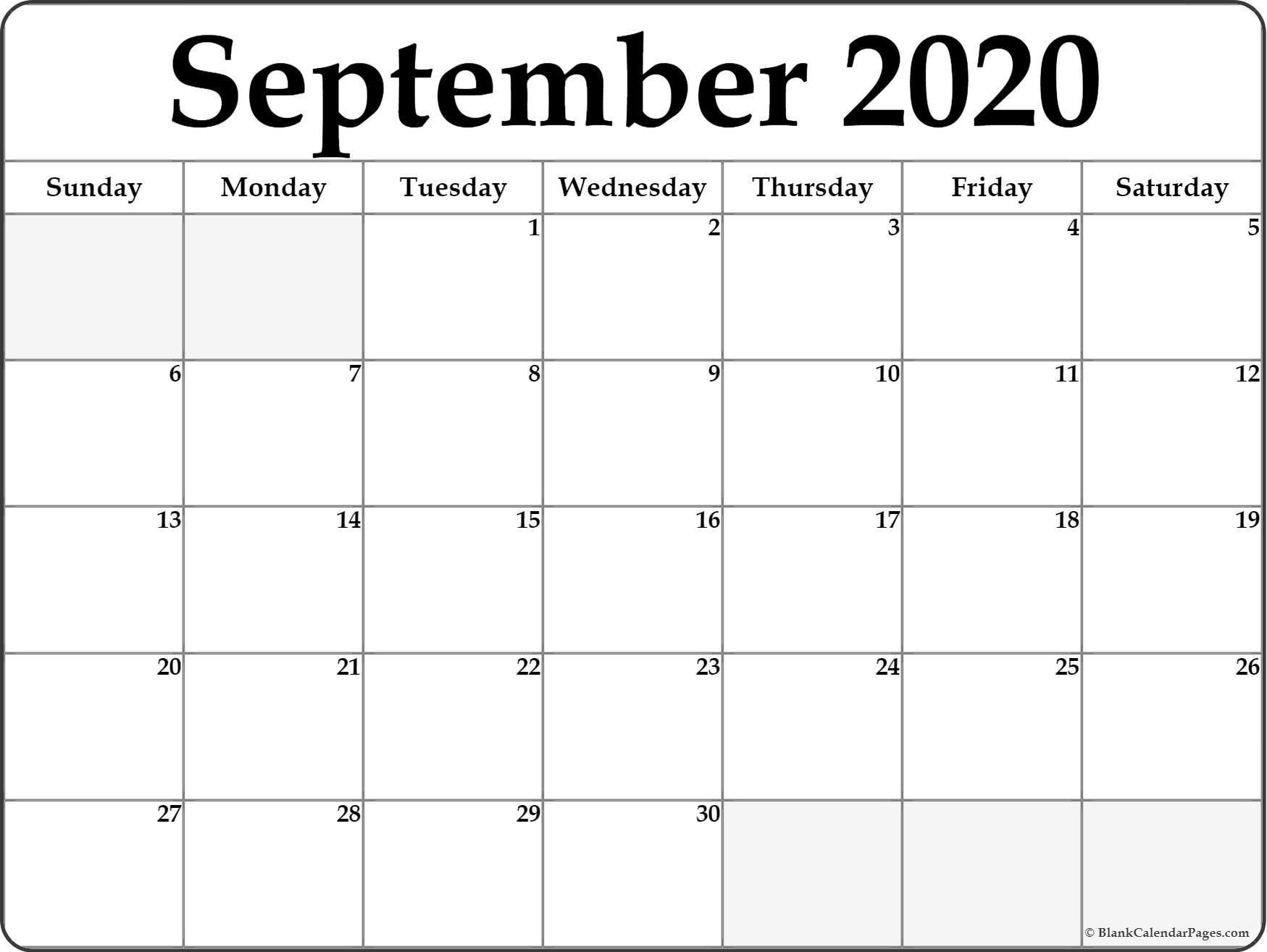 September 2020 Calendar | Free Printable Monthly Calendars-Monday Through Friday September Calendar Template 2020