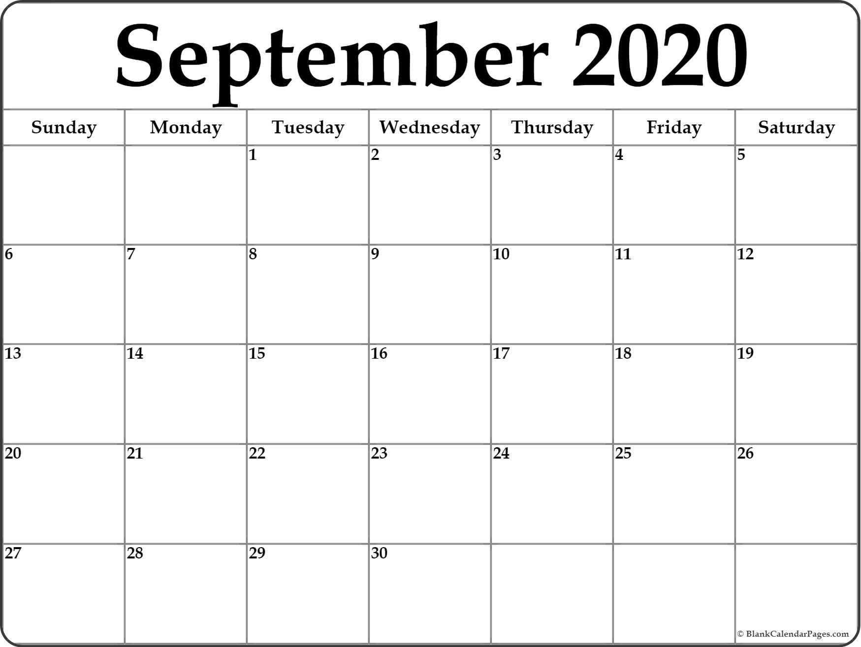 September 2020 Calendar | Free Printable Monthly Calendars-Monday Thru Friday Calendar Template 2020