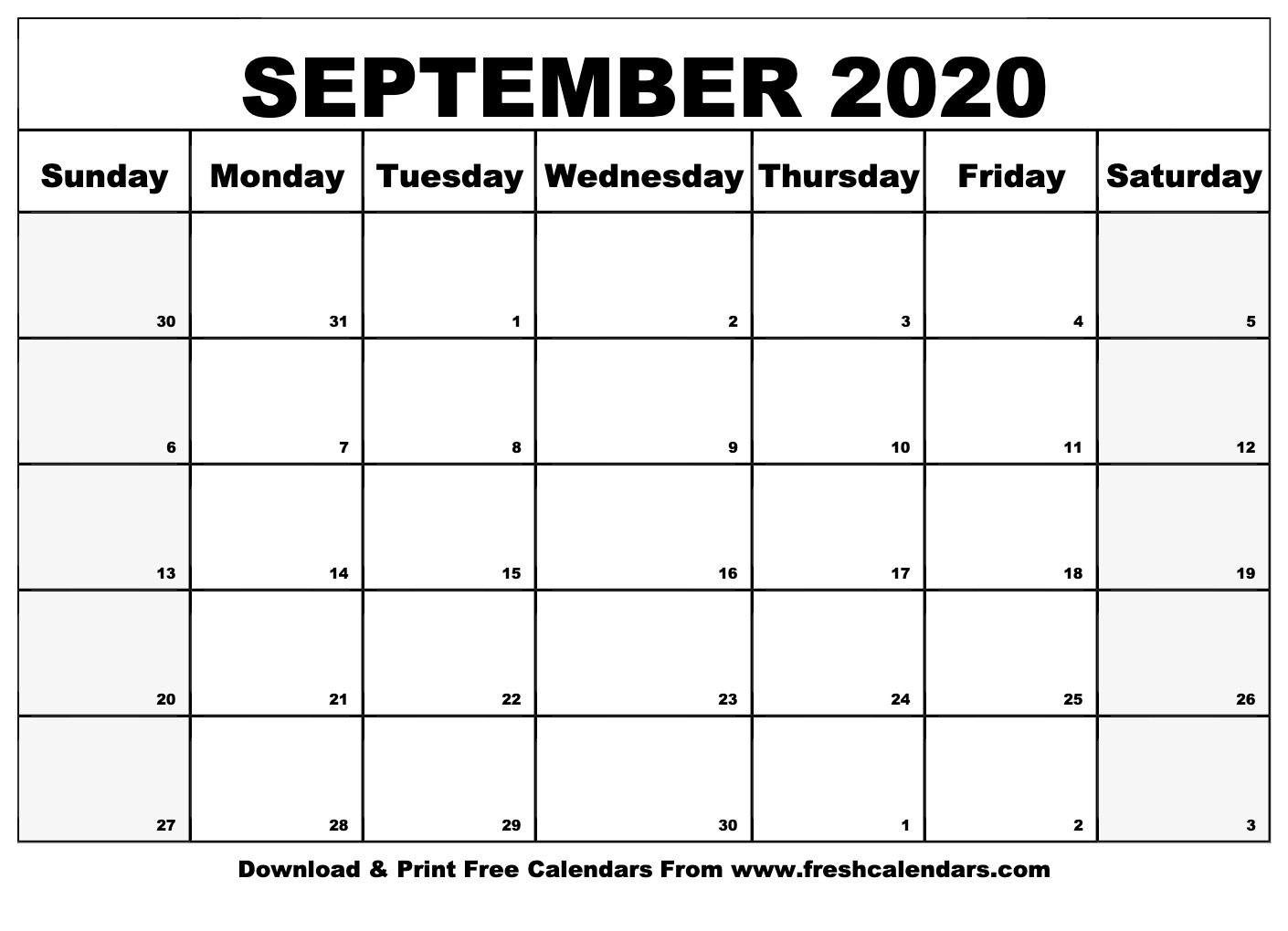September 2020 Calendar Printable - Fresh Calendars-Monday Through Friday September Calendar Template 2020