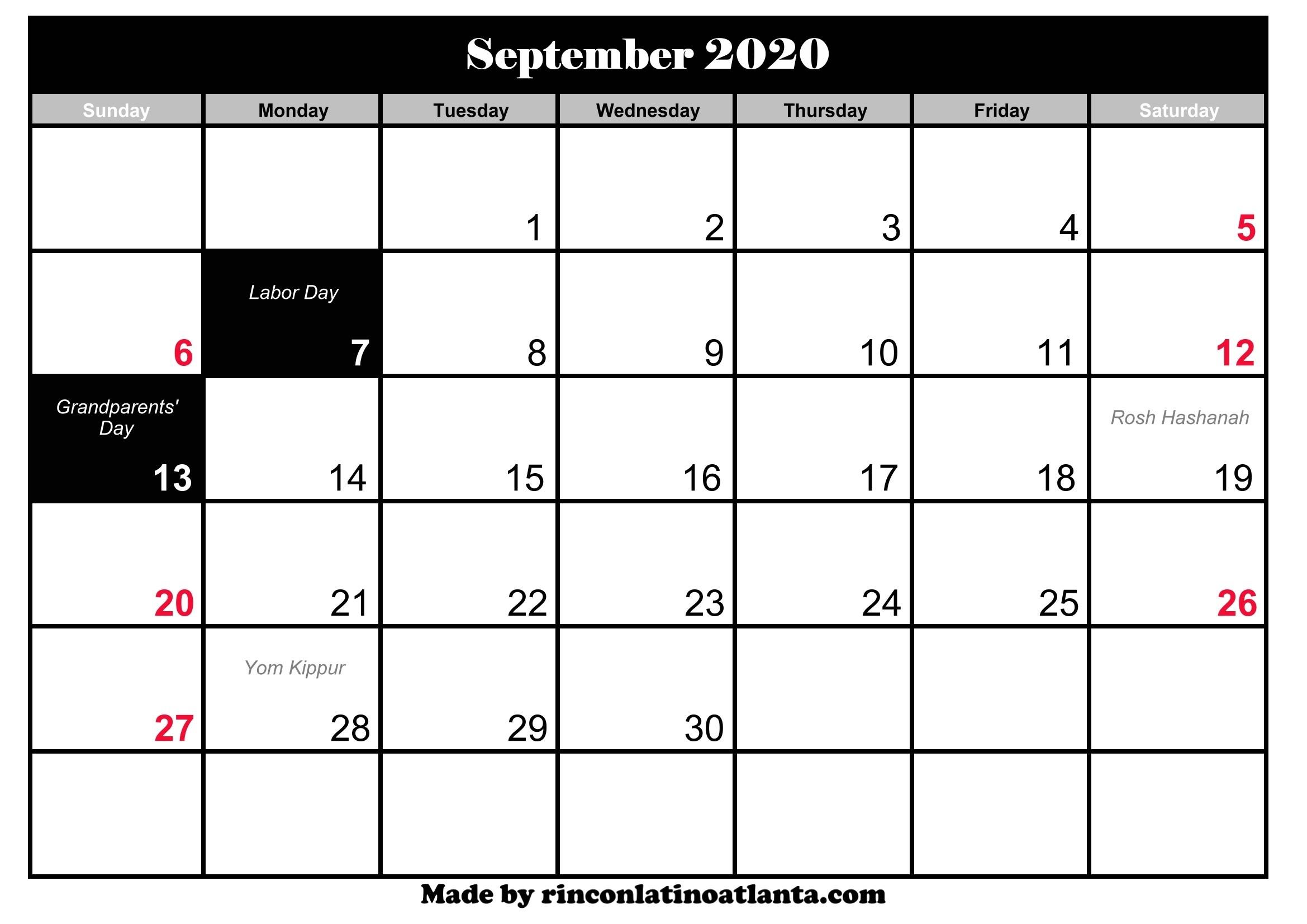 September 2020 Calendar With Holidays | Calendar Template-2020 Calendar With Holidays