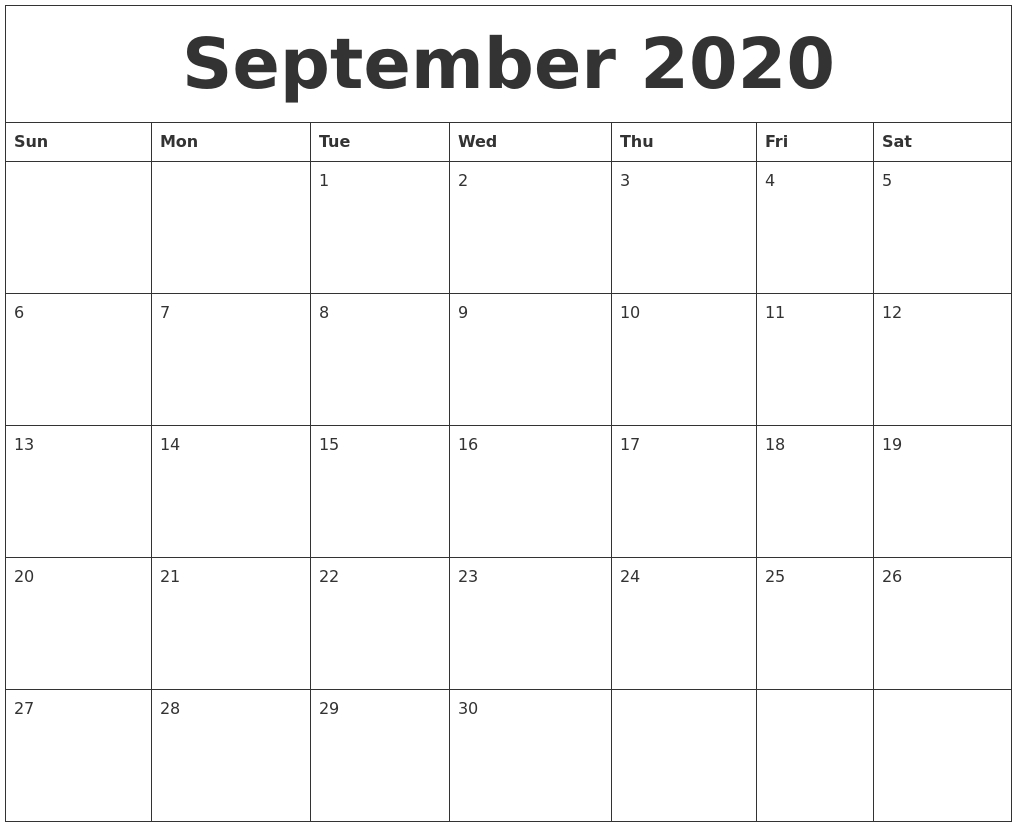 September 2020 Printable Blank Monthly Calendar-Printable 2020 Monthly Calendar Monday Start