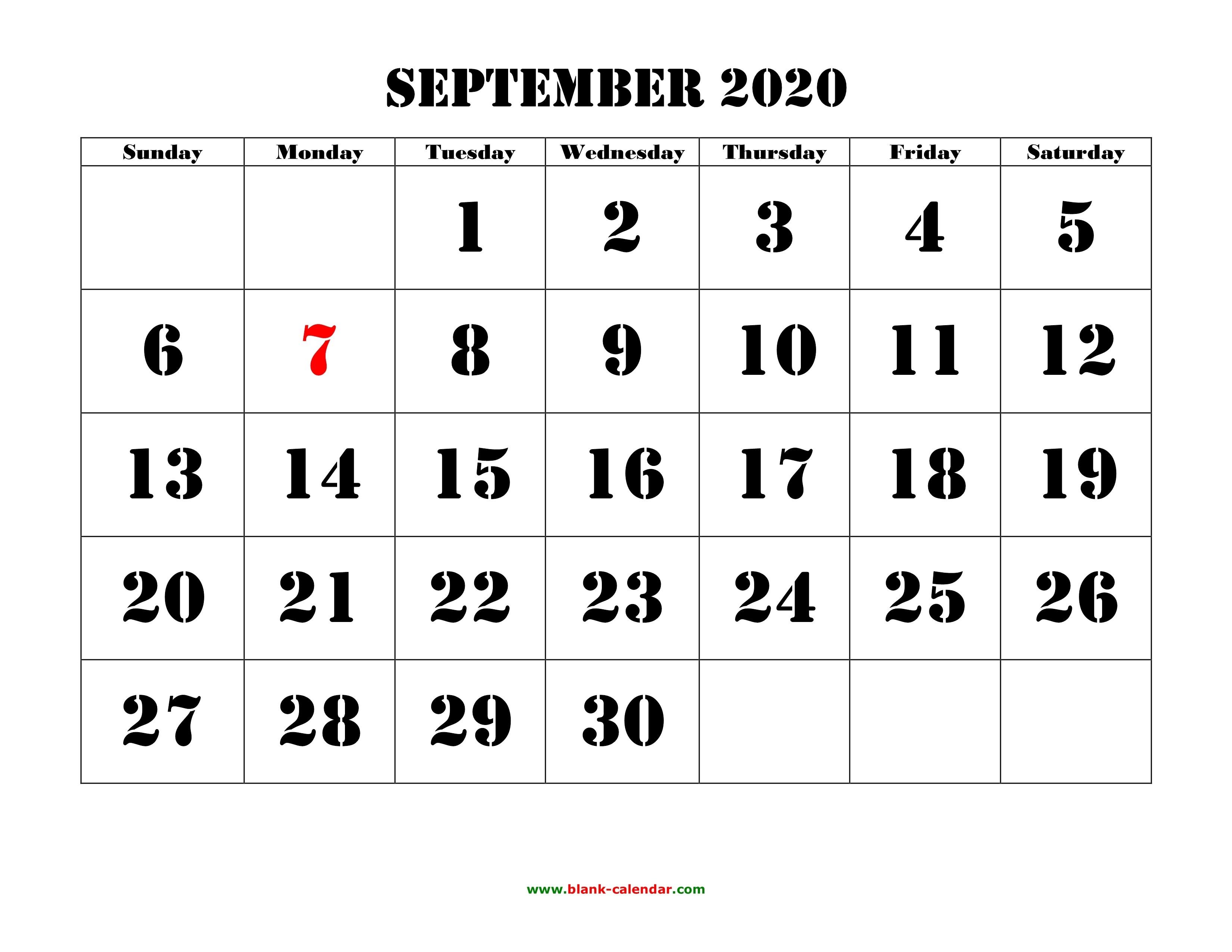 September 2020 Printable Calendar | Free Download Monthly-Google Calendar September 2020 Template