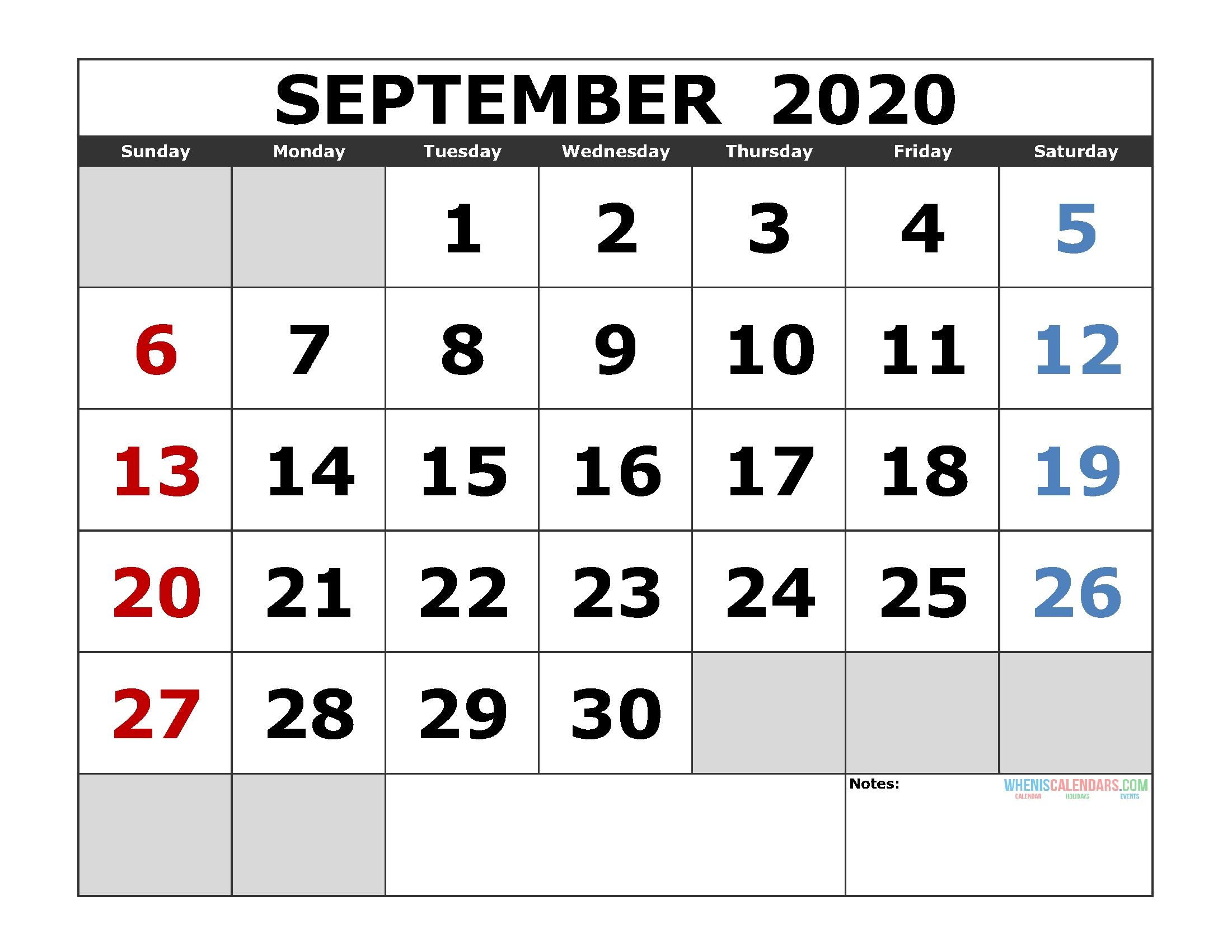 September 2020 Printable Calendar Template Excel, Pdf, Image-2020 Jewish Holidays Printable Calendar