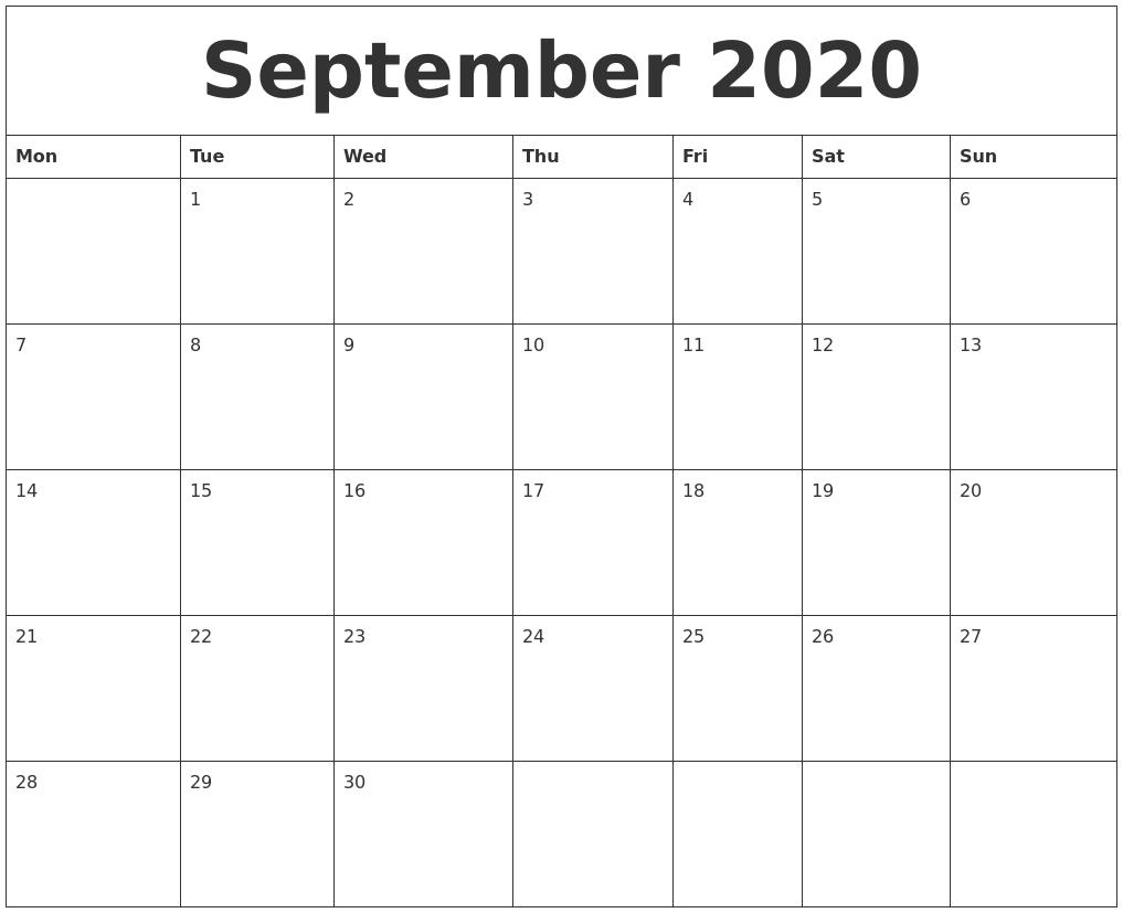 September 2020 Printable Calendar Template-Monday Through Friday September Calendar Template 2020