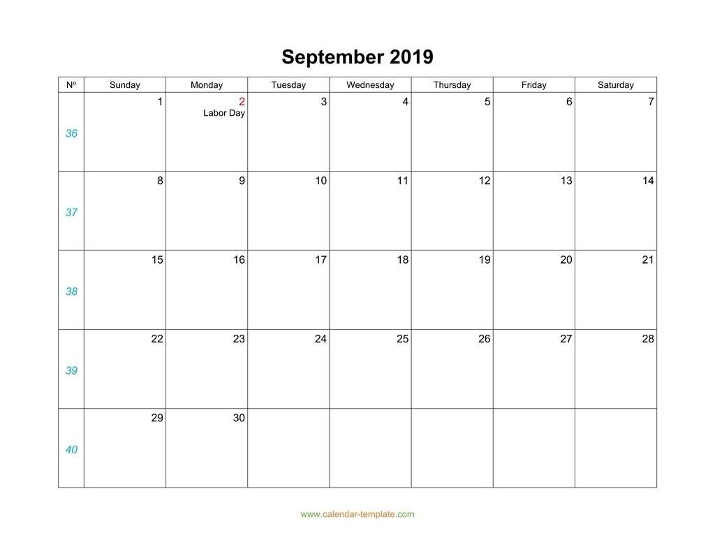 September Calendar 2019 Blank Template-Blank September Calendar Monday Start