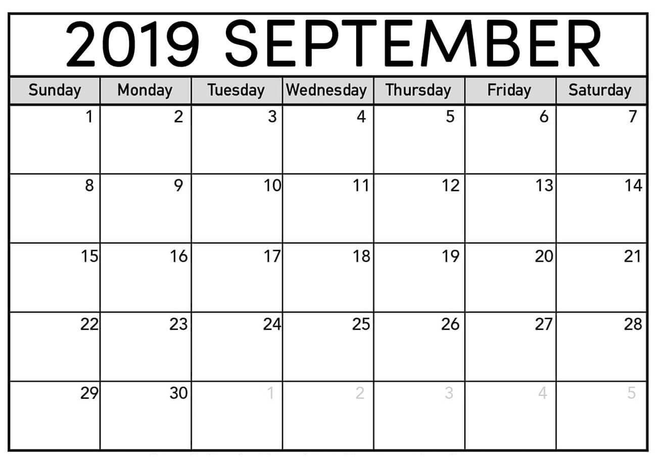 September Calendar 2019 Printable Sheet - Latest Printable-Blank Printable Catholic Calender September