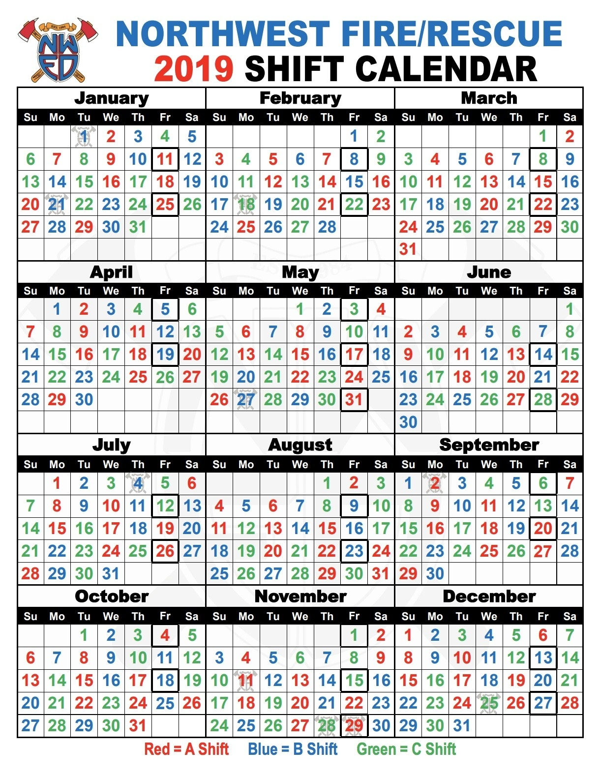 Shift Calendar 2019 - Isken.kaptanband.co-Firefighter Shift Calendar Template