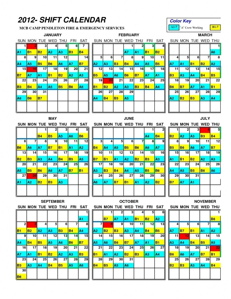 Shift Calendar Template. Work Schedule Template Download-Firefighter Shift Calendar Template