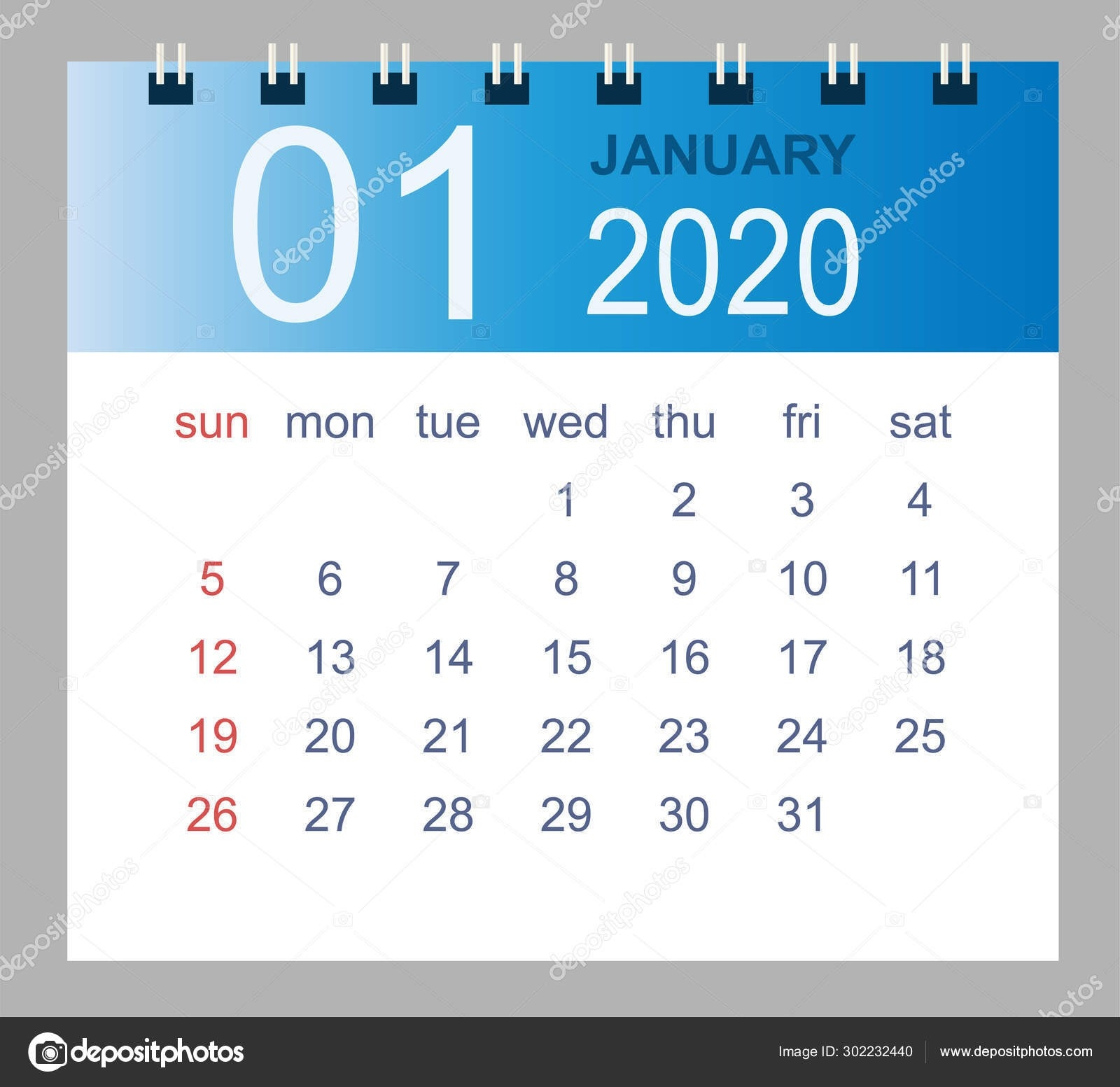 Simple Desk Calendar For January 2020. — Stock Vector © Olga-January 2020 Style 3 Calendar